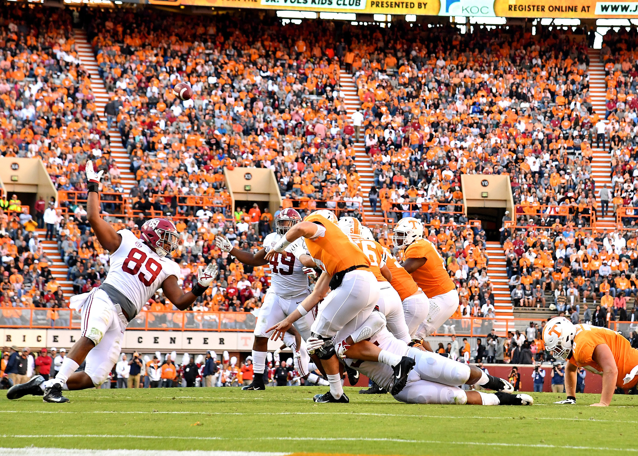 Tennessee Volunteers backup quarterback Keller Chryst (19) is seen under pressure in the first half of the Alabama at Tennessee NCAA football game on Saturday, Oct. 20, 2018, at Neyland Stadium in Knoxville. Tenn. Alabama wins 58-21. (Photo by Lee Walls)