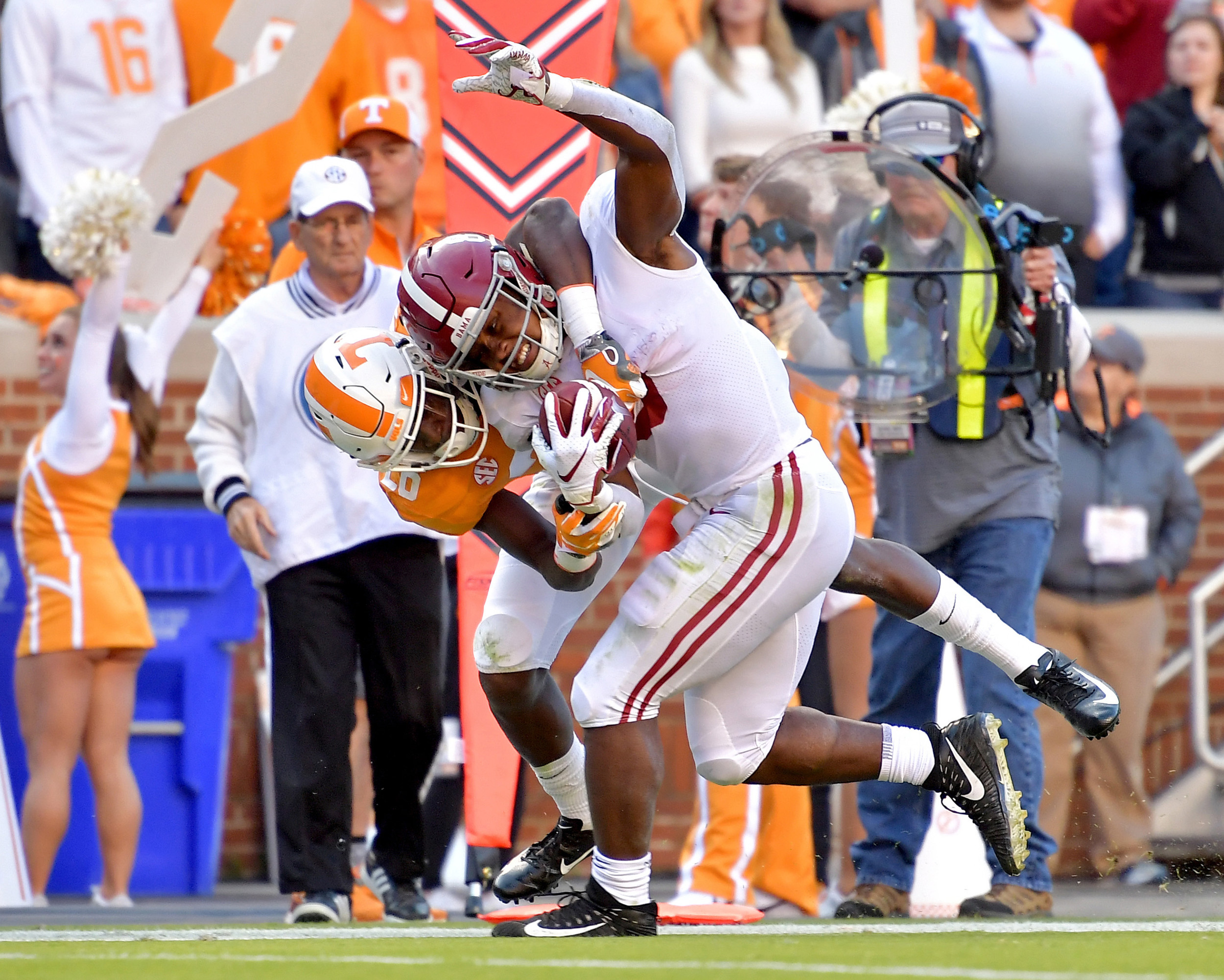 From the first half of the Alabama at Tennessee NCAA football game on Saturday, Oct. 20, 2018, at Neyland Stadium in Knoxville. Tenn. Alabama wins 58-21. (Photo by Lee Walls)