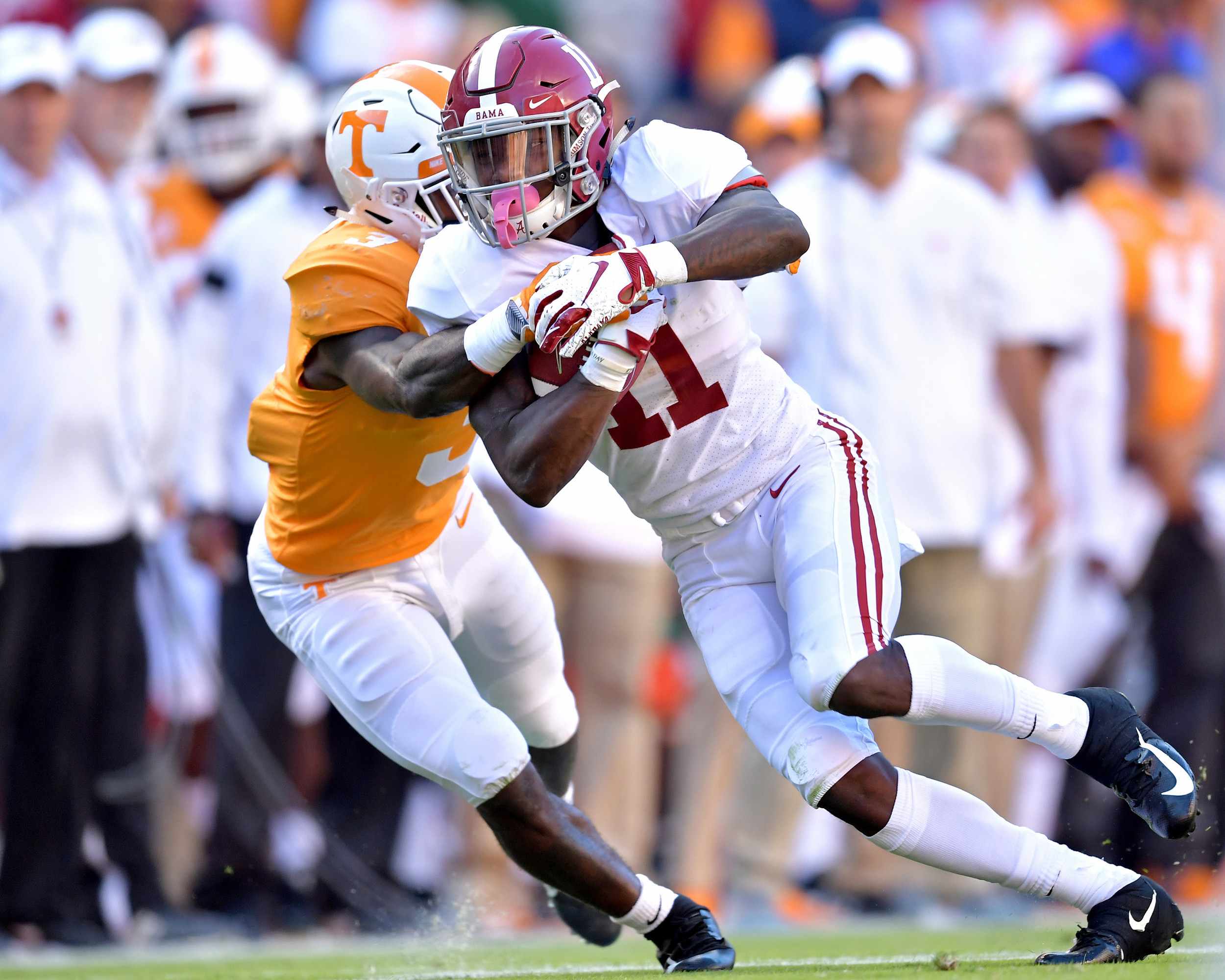 Alabama Crimson Tide wide receiver Henry Ruggs III (11) adds yards after a reception in the second quarter of the Alabama at Tennessee NCAA football game on Saturday, Oct. 20, 2018, at Neyland Stadium in Knoxville. Tenn. Alabama wins 58-21. (Photo by Lee Walls)