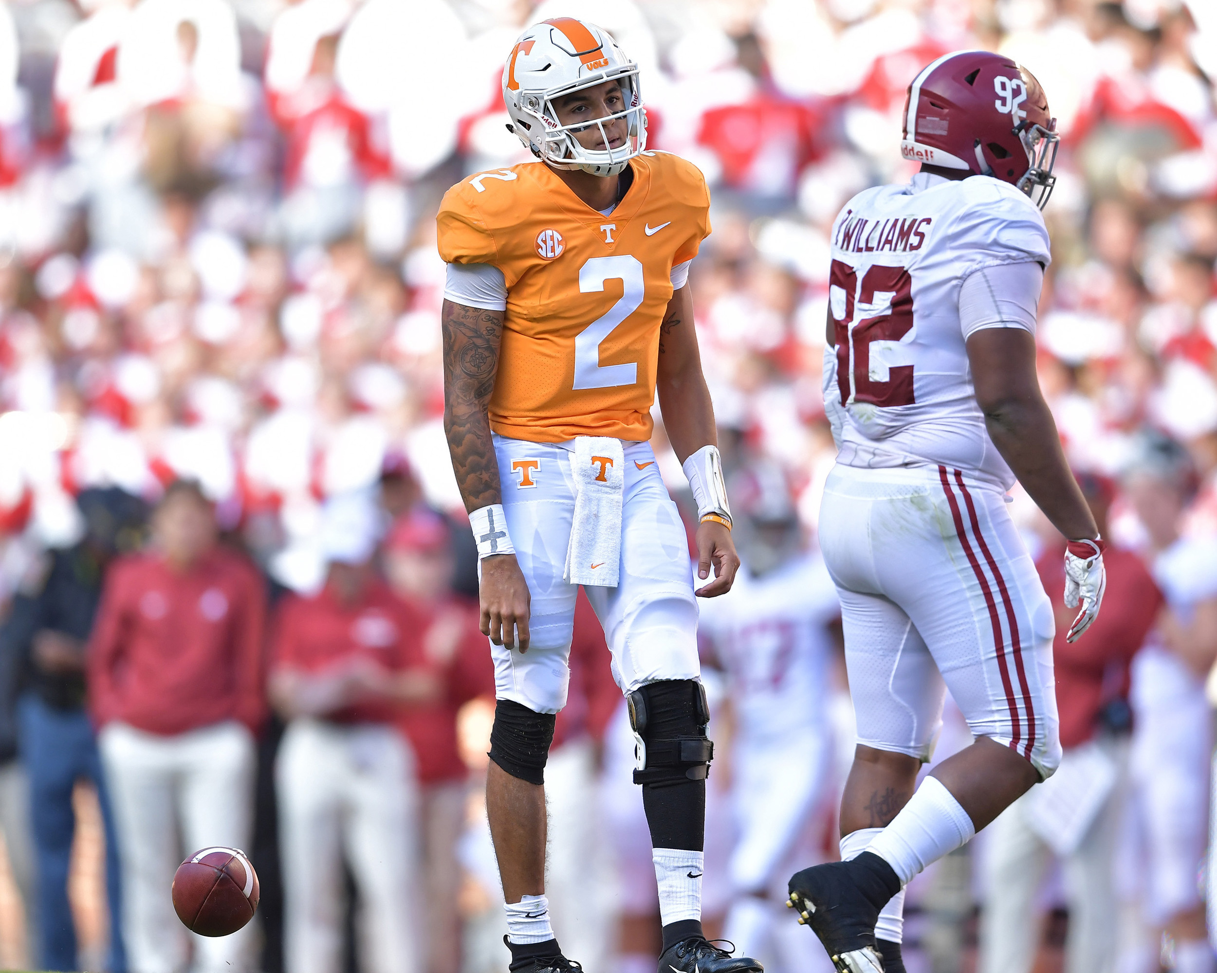 Tennessee Volunteers quarterback Jarrett Guarantano (2) looks dejected after another sack in the first half of the Alabama at Tennessee NCAA football game on Saturday, Oct. 20, 2018, at Neyland Stadium in Knoxville. Tenn. Alabama wins 58-21. (Photo by Lee Walls)