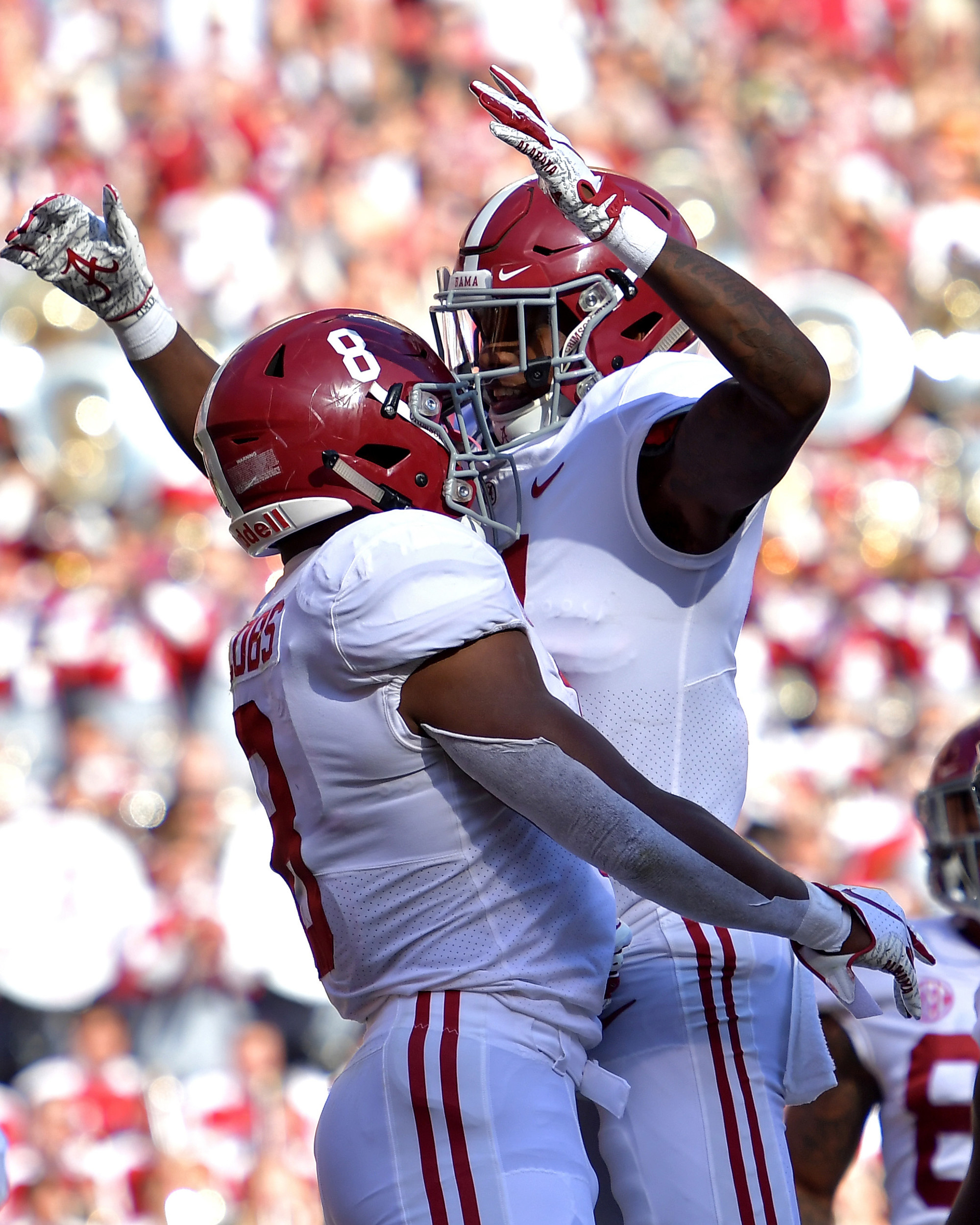 Alabama Crimson Tide running back Josh Jacobs (8) celebrates a touchdown in the first quarter of the Alabama at Tennessee NCAA football game on Saturday, Oct. 20, 2018, at Neyland Stadium in Knoxville. Tenn. Alabama wins 58-21. (Photo by Lee Walls)