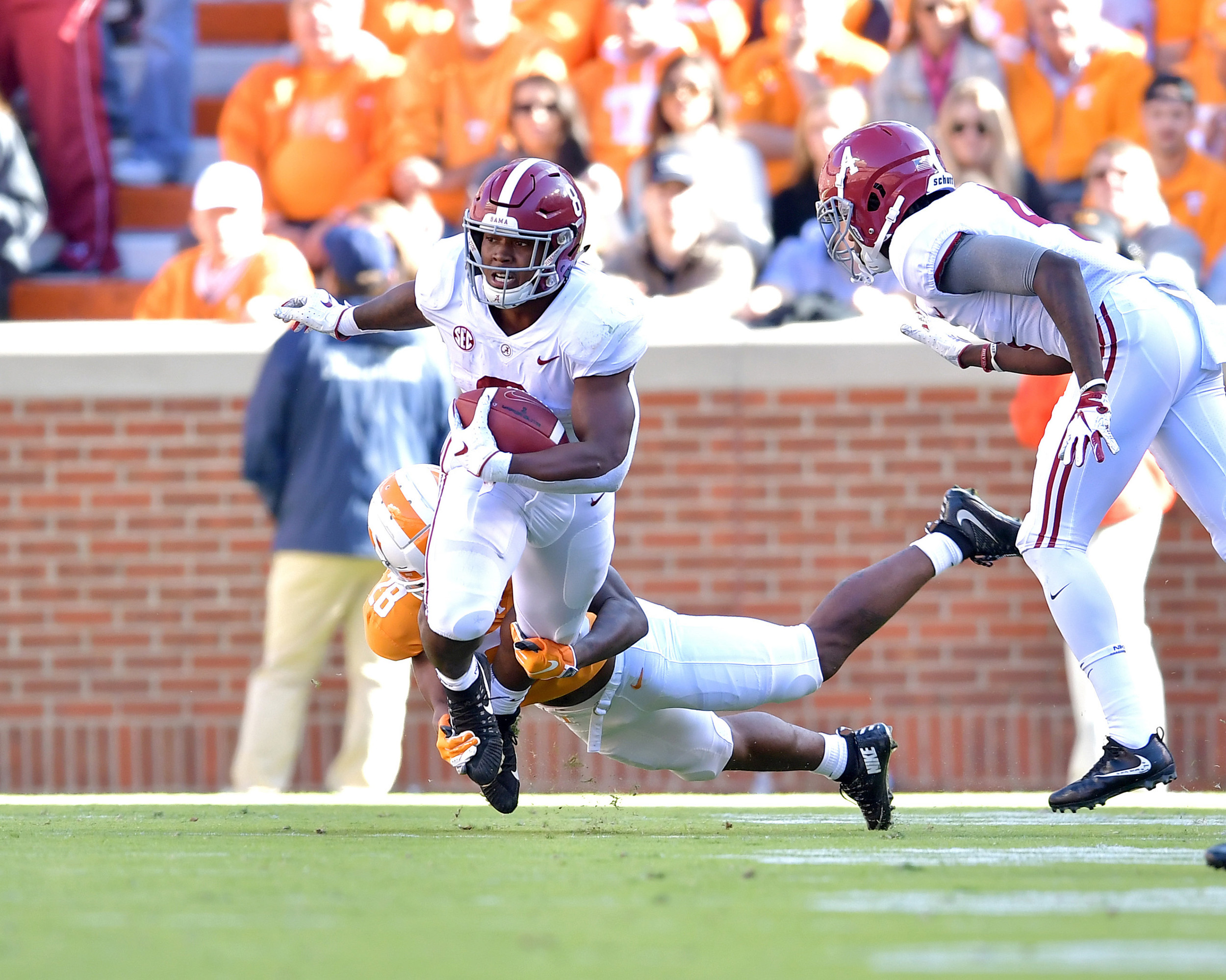 Alabama Crimson Tide running back Josh Jacobs (8) is tackled in the first half of the Alabama at Tennessee NCAA football game on Saturday, Oct. 20, 2018, at Neyland Stadium in Knoxville. Tenn. Alabama wins 58-21. (Photo by Lee Walls)