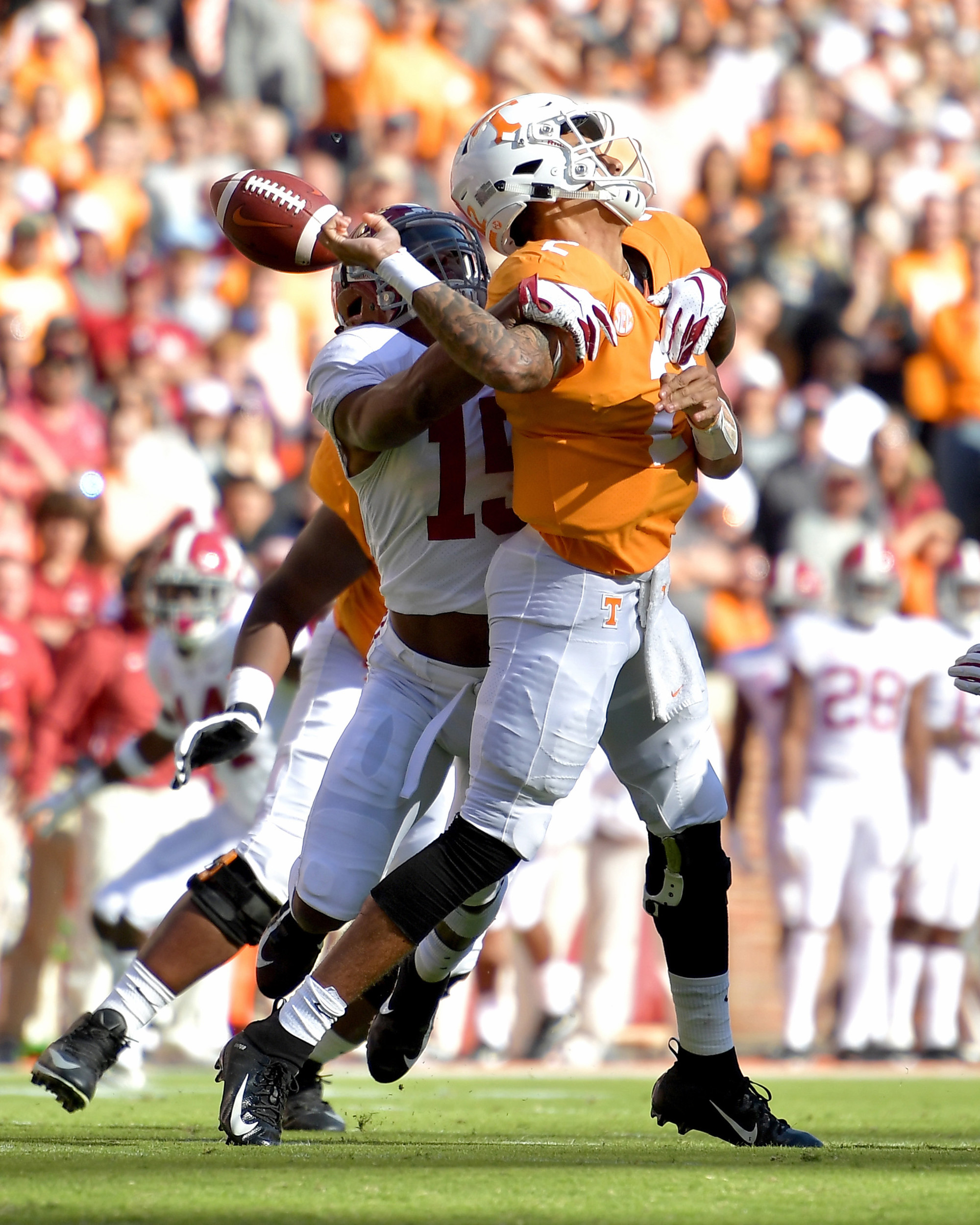 Tennessee Volunteers quarterback Jarrett Guarantano (2) is sacked by Alabama Crimson Tide defensive back Xavier McKinney (15) and fumbles the ball in the first quarter of the NCAA football game on Saturday, Oct. 20, 2018, at Neyland Stadium in Knoxville. Tenn. Alabama wins 58-21. (Photo by Lee Walls)