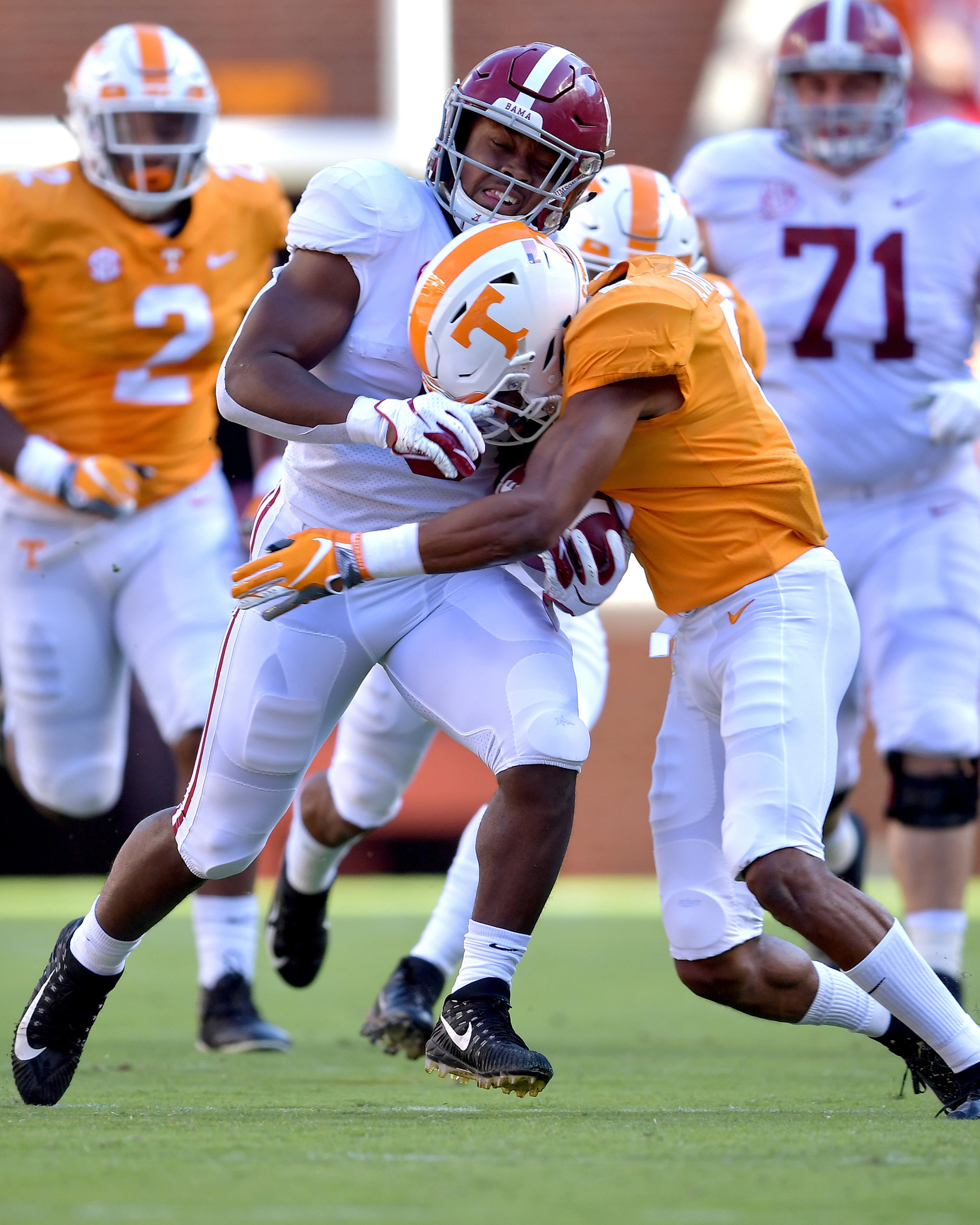 Alabama Crimson Tide running back Josh Jacobs (8) is tackled during the first half of the Alabama at Tennessee NCAA football game on Saturday, Oct. 20, 2018, at Neyland Stadium in Knoxville. Tenn. Alabama wins 58-21. (Photo by Lee Walls)