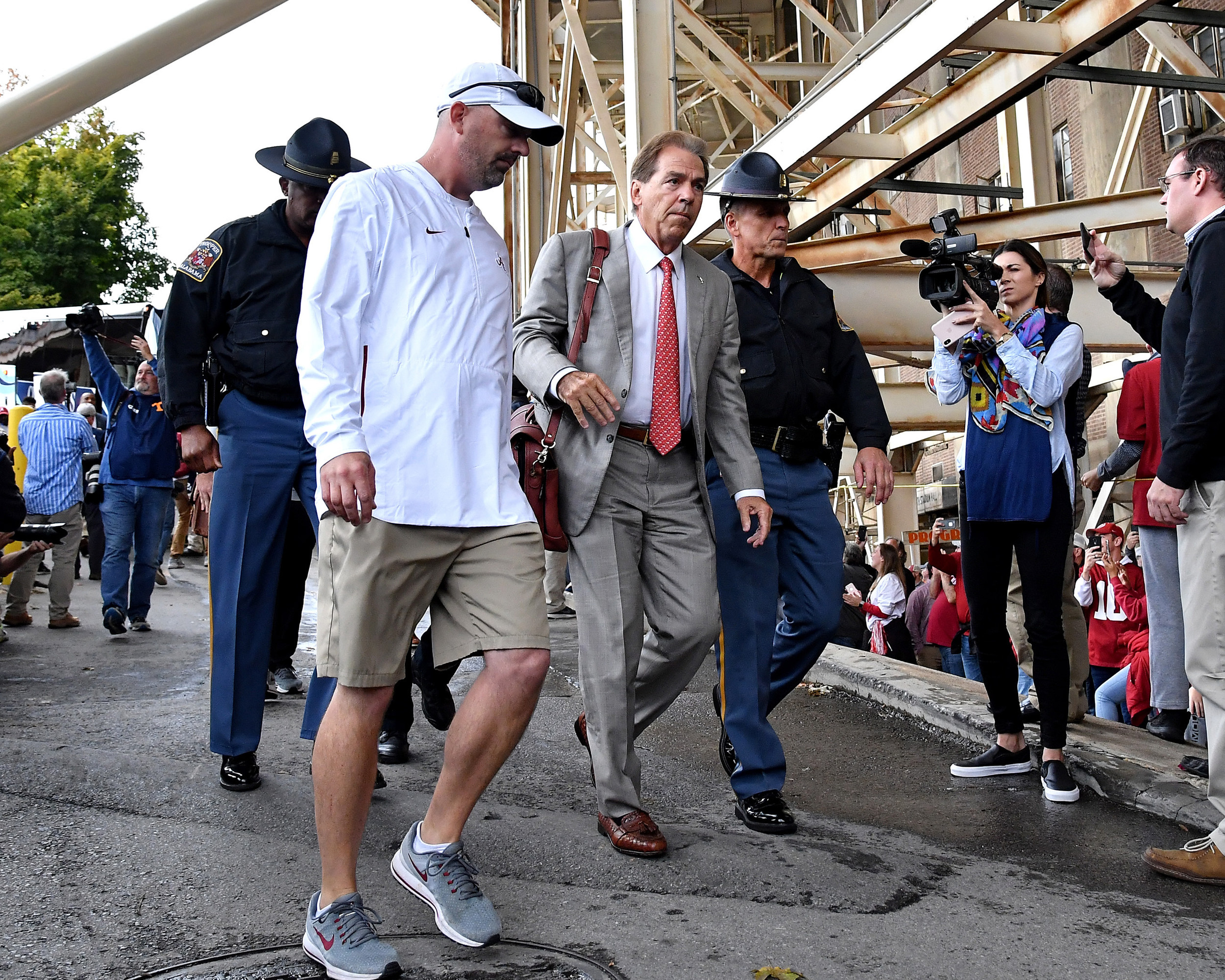 Alabama Crimson Tide head coach Nick Saban enters Neyland Stadium prior to the Alabama at Tennessee NCAA football game on Saturday, Oct. 20, 2018, in Knoxville. Tenn. Alabama wins 58-21. (Photo by Lee Walls)