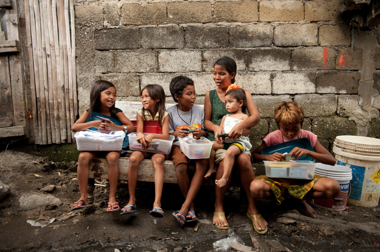 An Operation Christmas Child shoebox distribution in the Philippines. National Collection Week is Nov. 12-19.