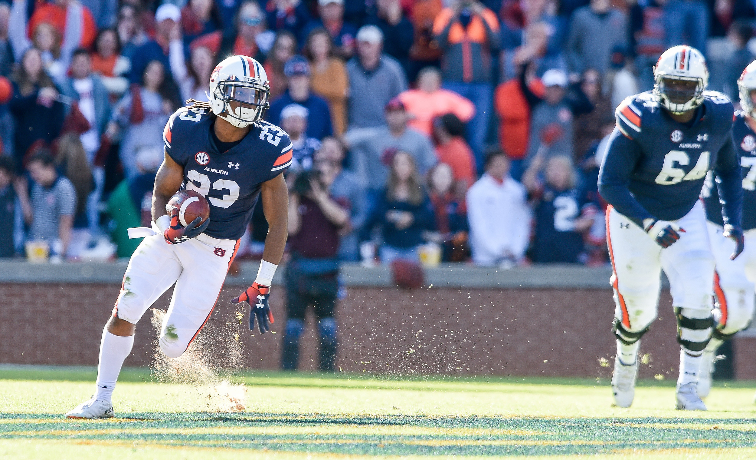 Auburn Tigers wide receiver Ryan Davis (23) runs during the second half of an NCAA football game against the Texas A&M Aggies Saturday, November 3, 2018, at Jordan-Hare Stadium in Auburn, Ala. (Photo by Jeff Johnsey)