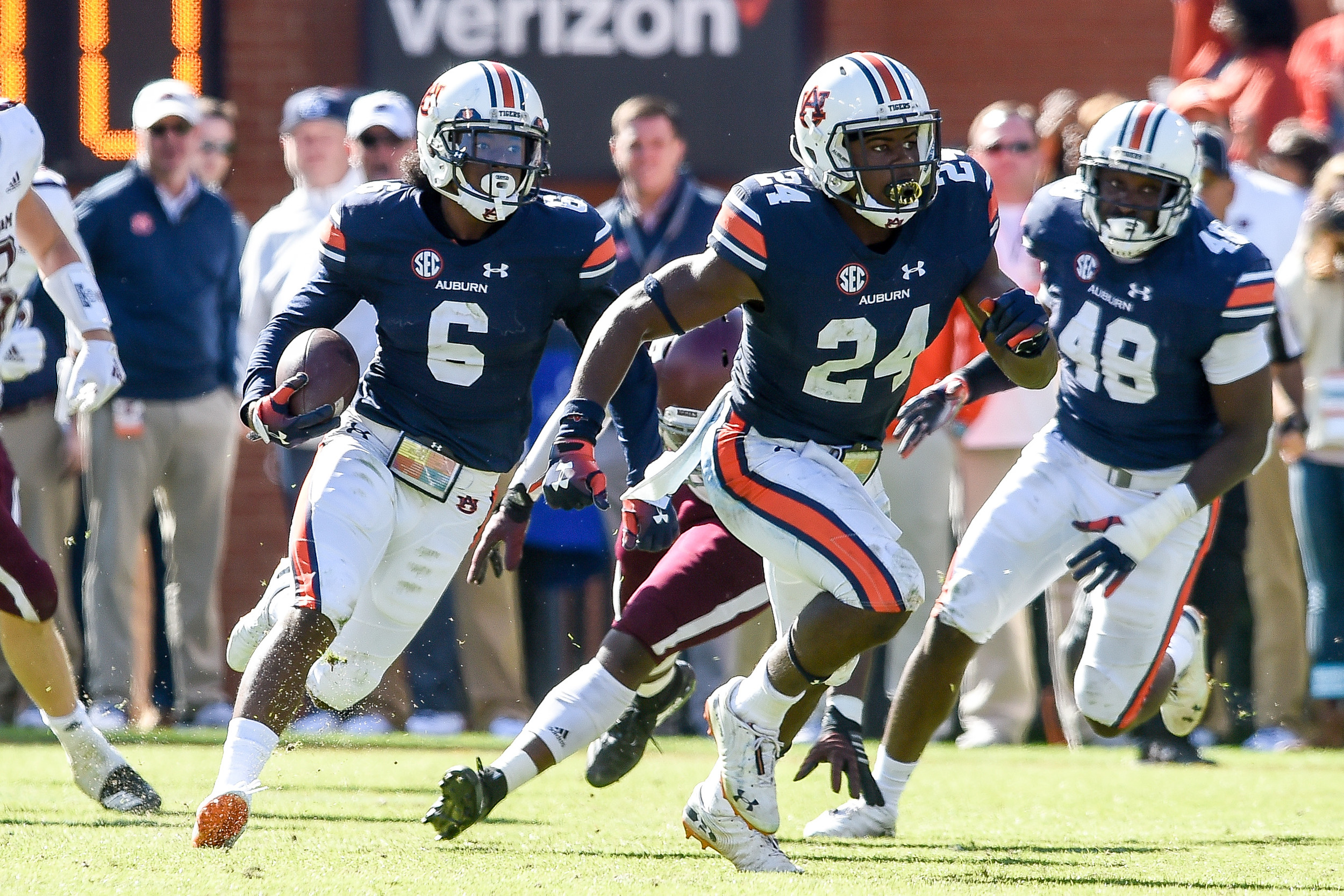 Auburn Tigers defensive back Christian Tutt (6) returns a punt during the second half of an NCAA football game against the Texas A&M Aggies Saturday, November 3, 2018, at Jordan-Hare Stadium in Auburn, Ala. (Photo by Jeff Johnsey)