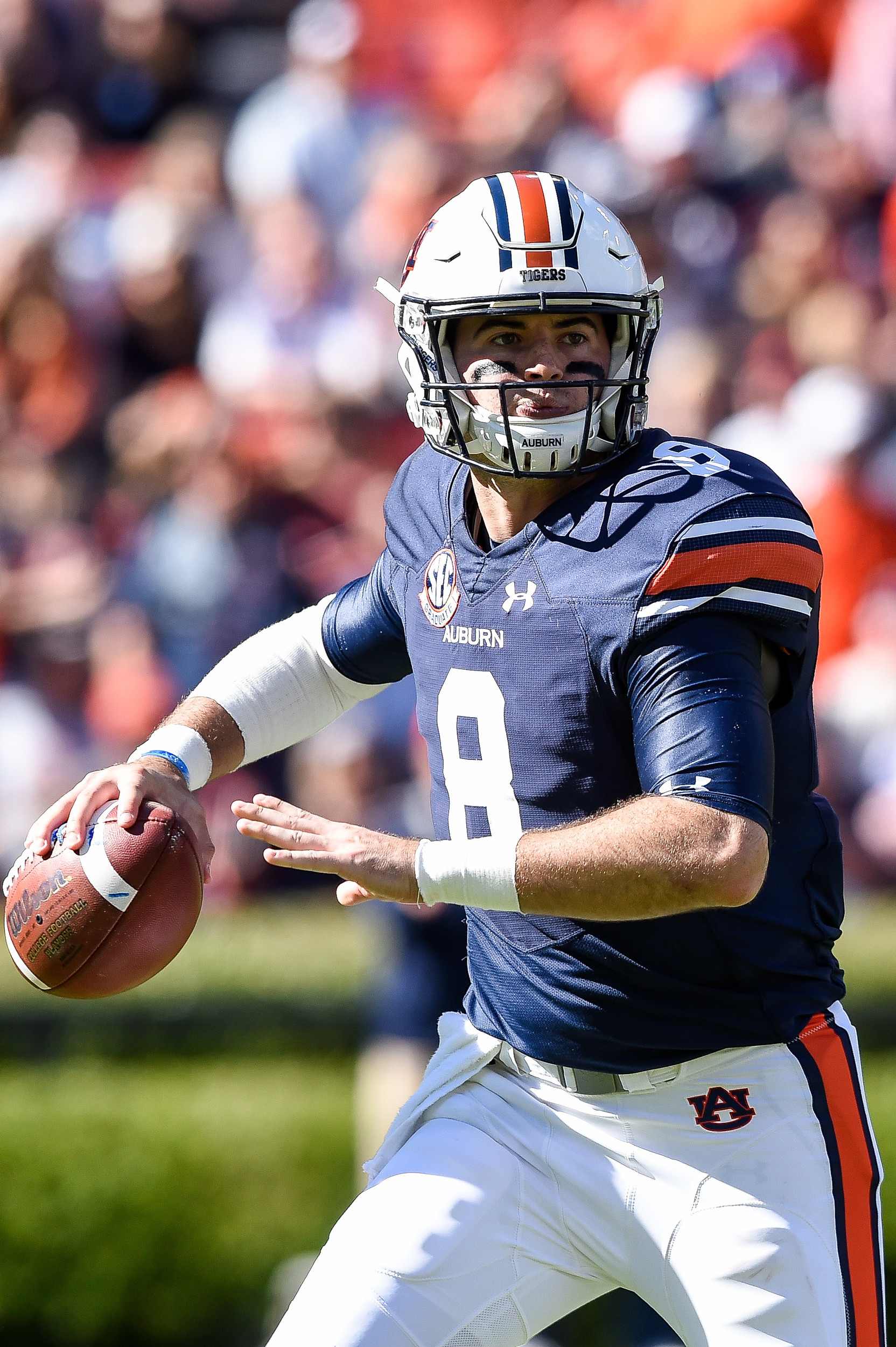 Auburn Tigers quarterback Jarrett Stidham (8) looks to throw downfield during the second half of an NCAA football game against the Texas A&M Aggies Saturday, November 3, 2018, at Jordan-Hare Stadium in Auburn, Ala. (Photo by Jeff Johnsey)