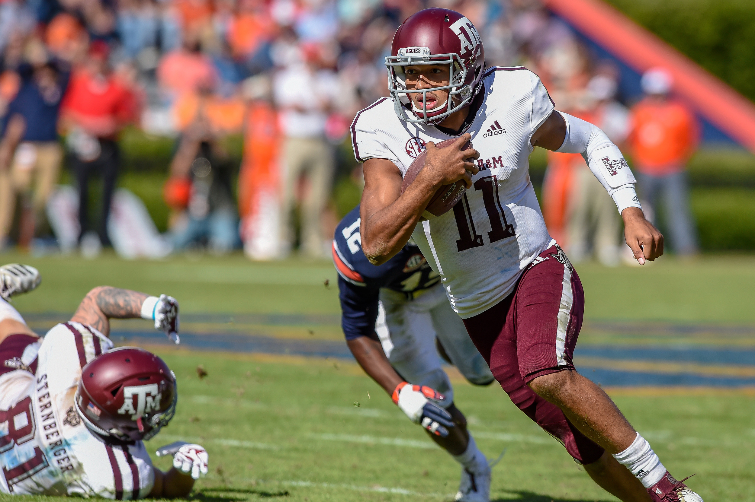 Texas A&M Aggies quarterback Kellen Mond (11) runs during the second half of an NCAA football game against the Texas A&M Aggies Saturday, November 3, 2018, at Jordan-Hare Stadium in Auburn, Ala. (Photo by Jeff Johnsey)