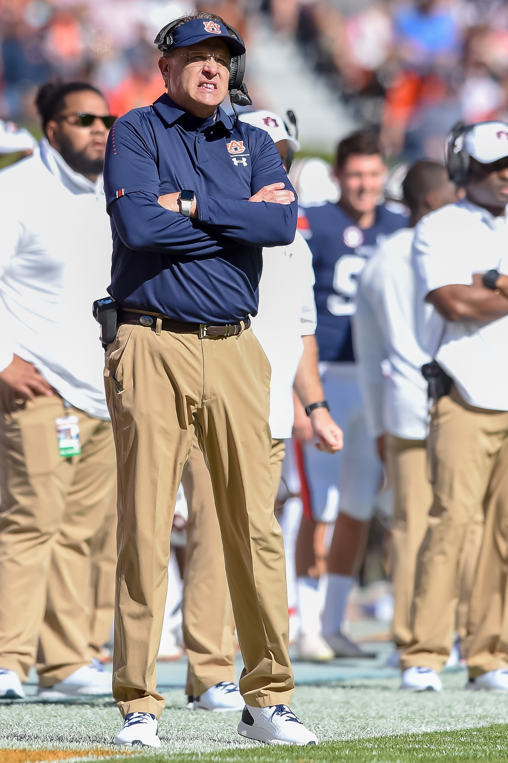 Auburn Tigers head coach Gus Malzahn looks on during the first half of an NCAA football game against the Texas A&M Aggies Saturday, November 3, 2018, at Jordan-Hare Stadium in Auburn, Ala. (Photo by Jeff Johnsey)
