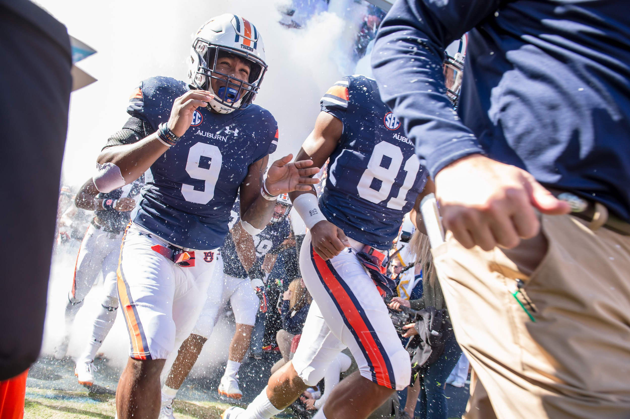 Auburn Tigers running back Kam Martin (9) runs out of the tunnel prior to an NCAA football game against the Texas A&M Aggies Saturday, November 3, 2018, at Jordan-Hare Stadium in Auburn, Ala. (Photo by Jeff Johnsey)