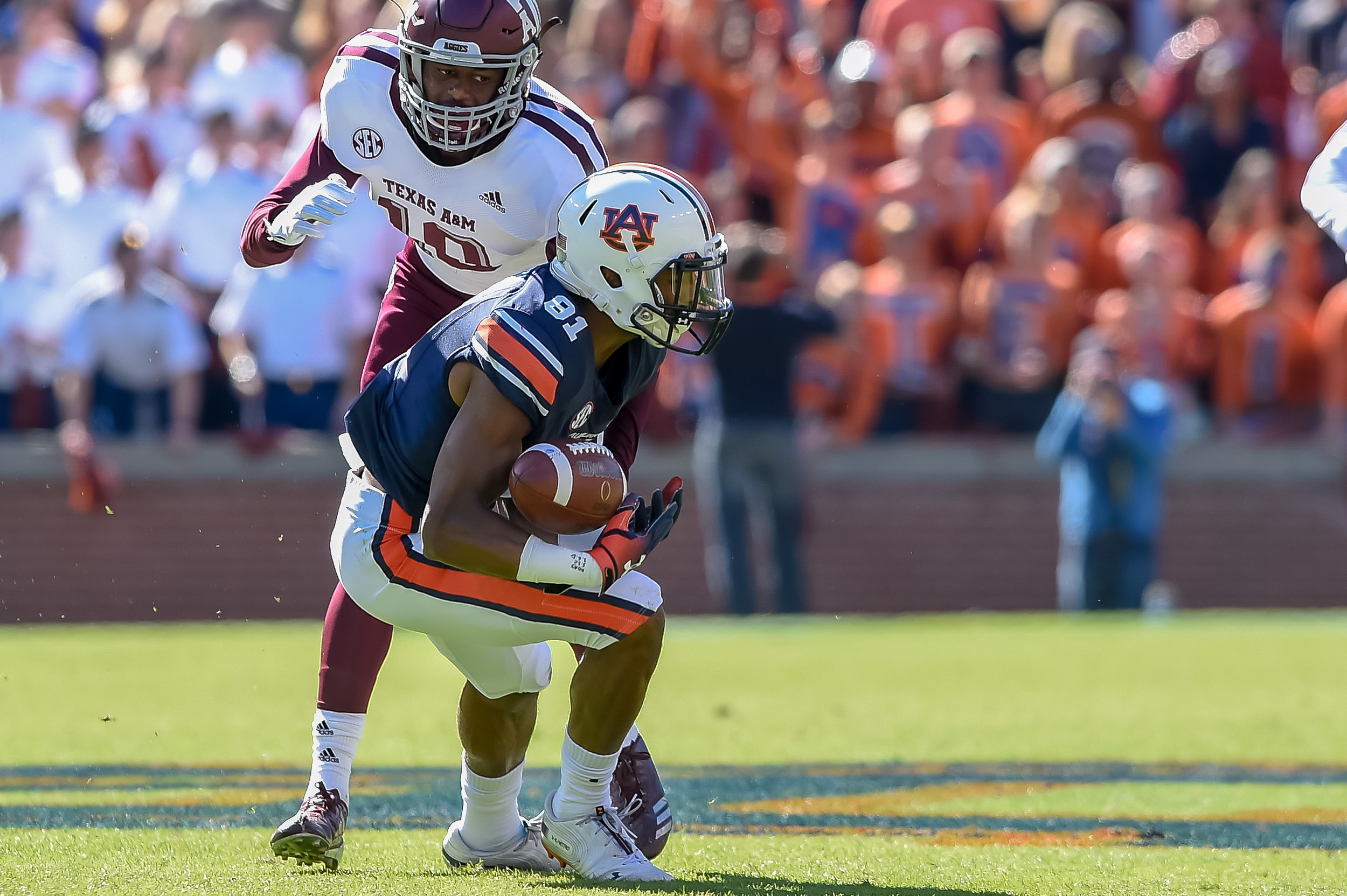 Auburn Tigers wide receiver Darius Slayton (81) can't make the catch during the first half of an NCAA football game against the Texas A&M Aggies Saturday, November 3, 2018, at Jordan-Hare Stadium in Auburn, Ala. (Photo by Jeff Johnsey)