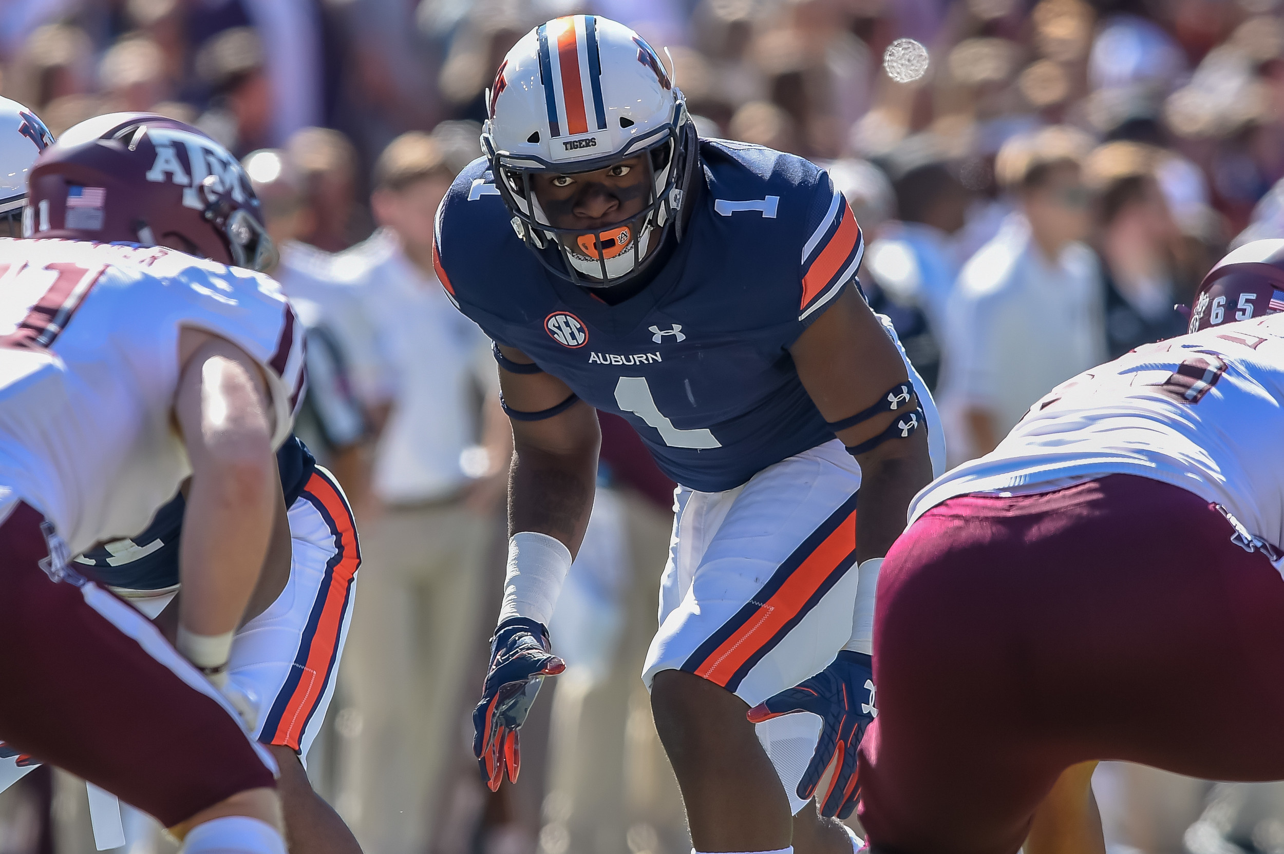 Auburn Tigers defensive lineman Marlon Davidson (3) during the first half of an NCAA football game against the Texas A&M Aggies Saturday, November 3, 2018, at Jordan-Hare Stadium in Auburn, Ala. (Photo by Jeff Johnsey)
