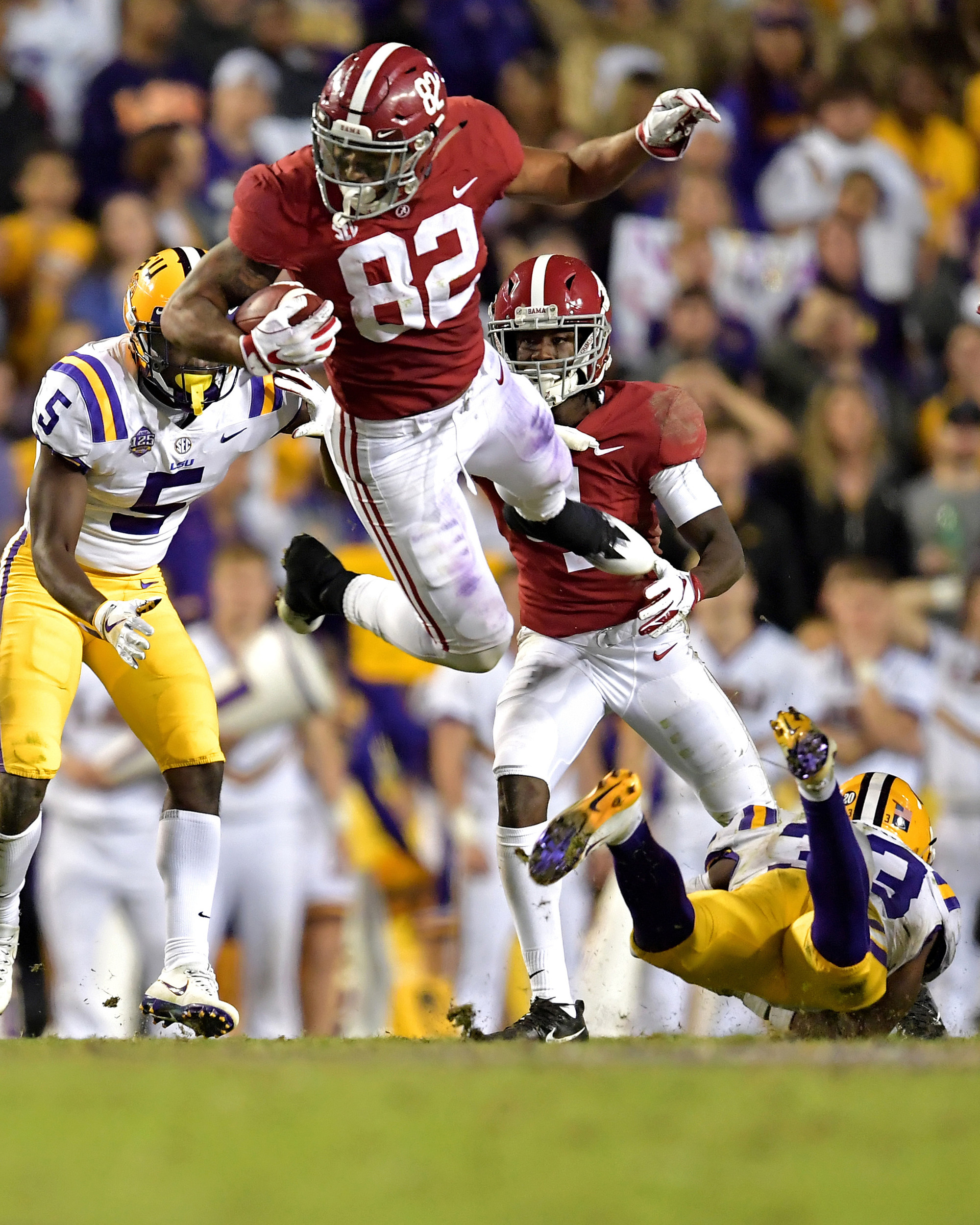 Alabama Crimson Tide tight end Irv Smith Jr. (82) adds yards after the reception during the second half of an NCAA football game against the LSU Tigers Saturday, November 3, 2018, at Tiger Stadium in Baton Rouge, La. Alabama wins 29-0. (Photo by Lee Walls)