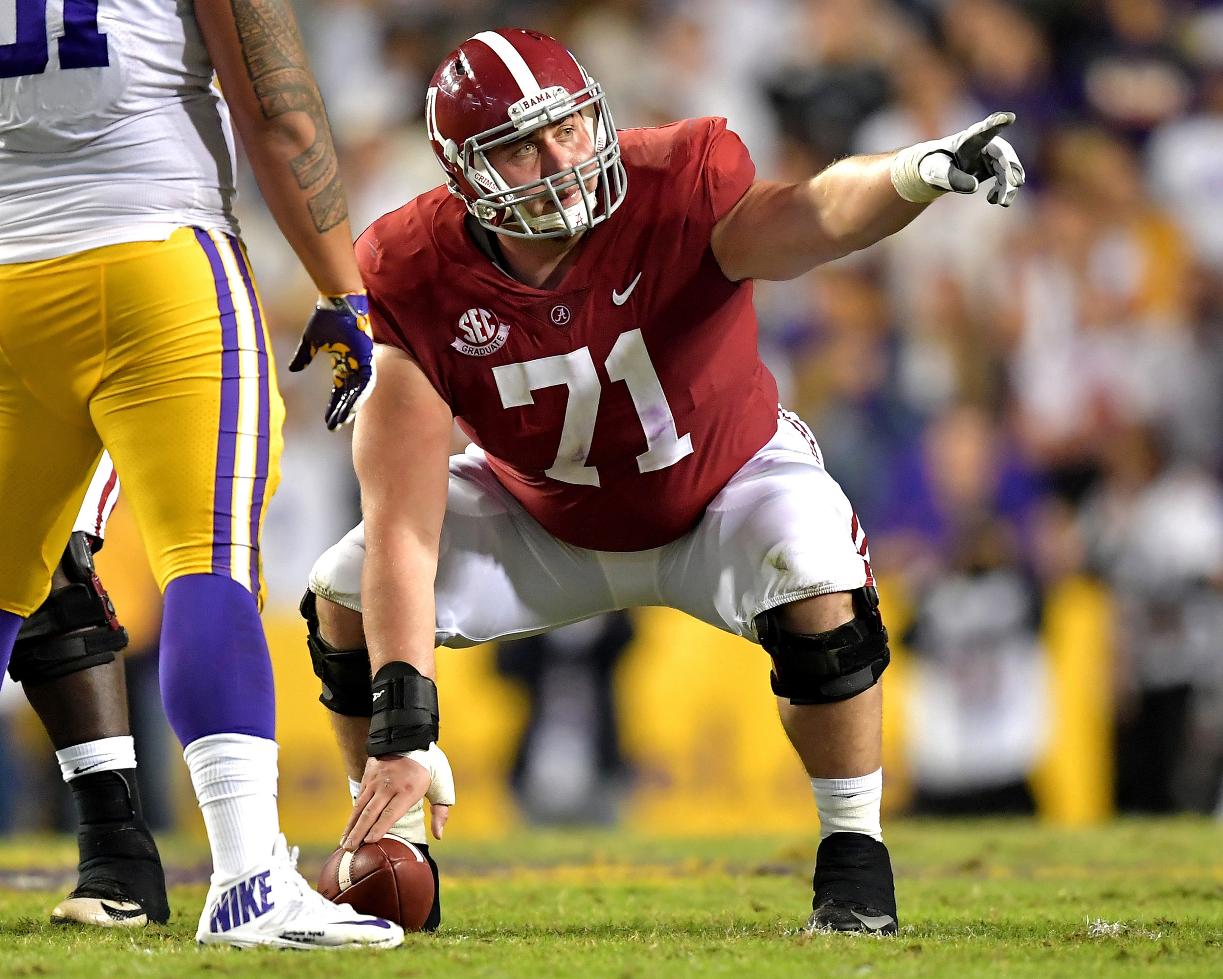 Alabama Crimson Tide center Ross Pierschbacher (71) points out defensive adjustments during the second half of an NCAA football game against the LSU Tigers Saturday, November 3, 2018, at Tiger Stadium in Baton Rouge, La. Alabama wins 29-0. (Photo by Lee Walls)