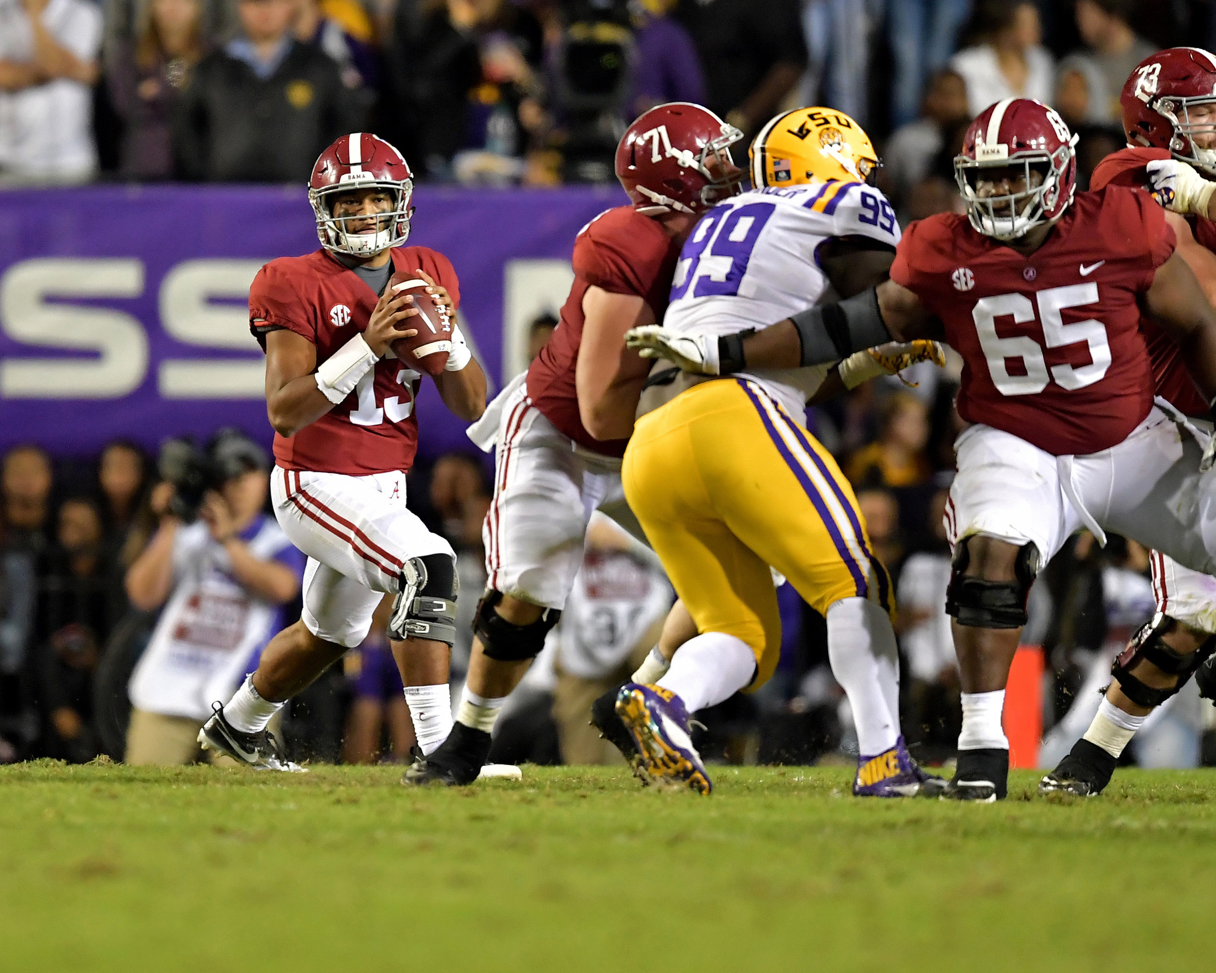 From the second half of an NCAA football game between the Alabama Crimson Tide and the LSU Tigers Saturday, November 3, 2018, at Tiger Stadium in Baton Rouge, La. Alabama wins 29-0. (Photo by Lee Walls)