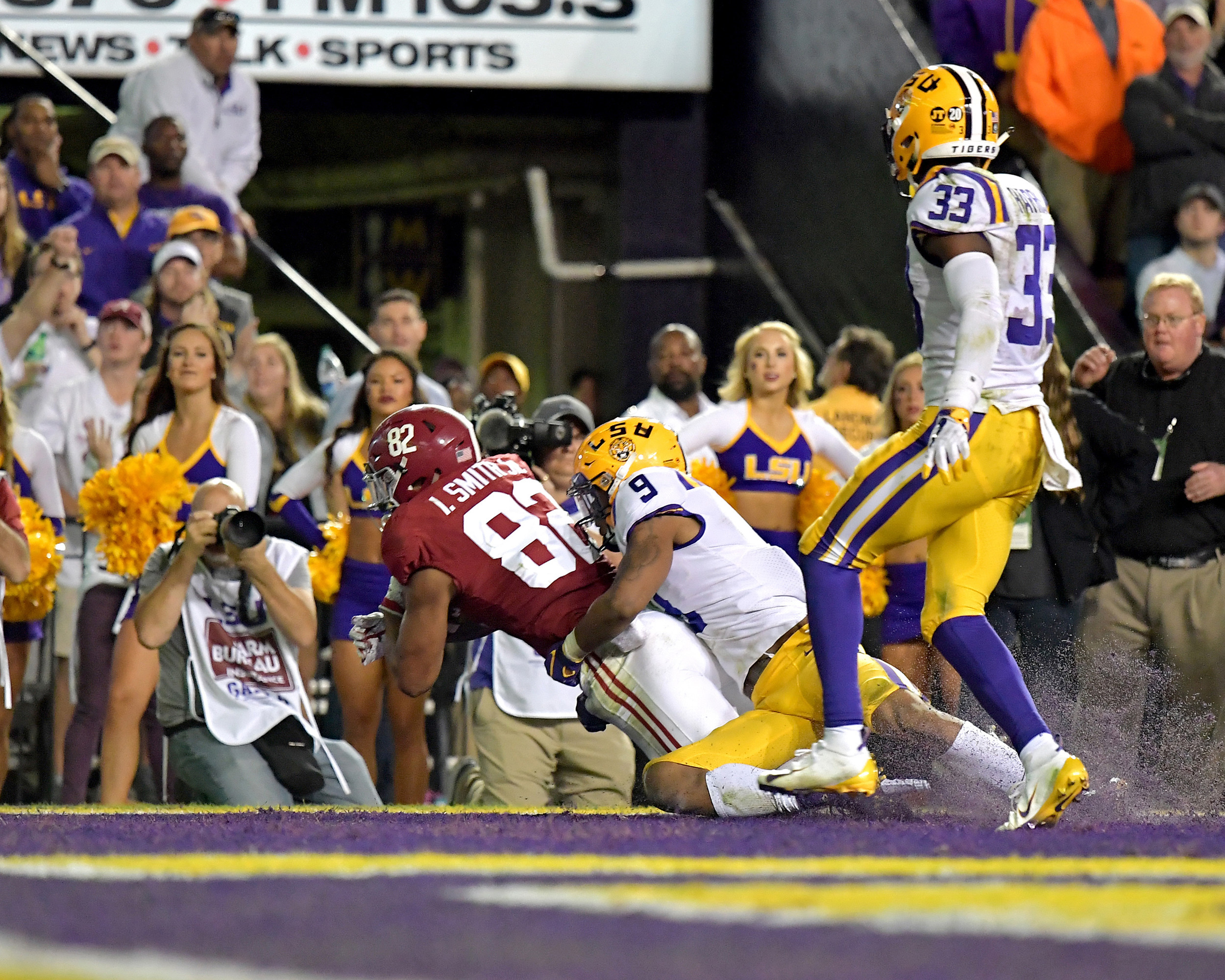 Alabama Crimson Tide tight end Irv Smith Jr. (82) makes a touchdown in the first half of an NCAA football game against the LSU Tigers Saturday, November 3, 2018, at Tiger Stadium in Baton Rouge, La. Alabama wins 29-0. (Photo by Lee Walls)