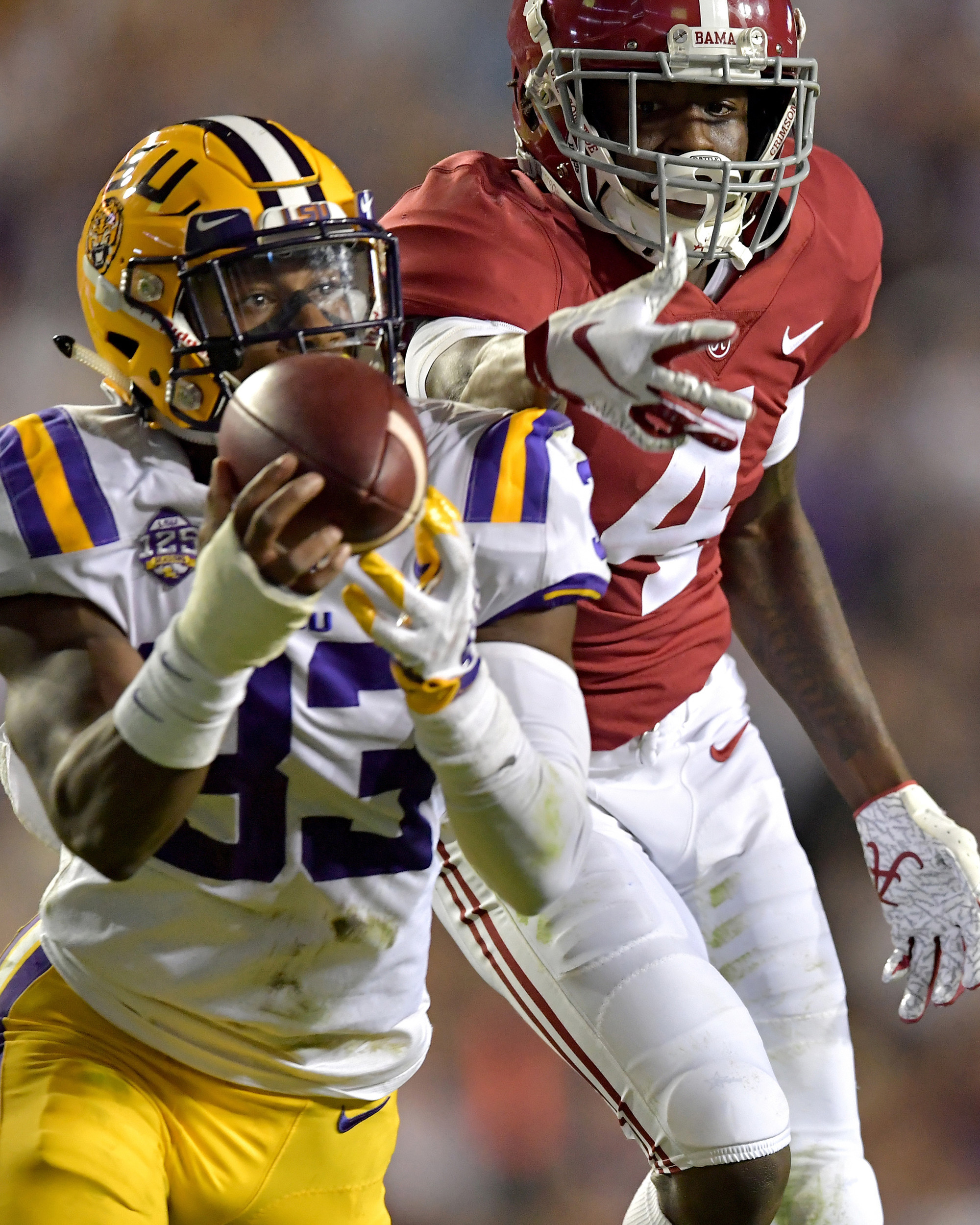 From the first half of an NCAA football game between the Alabama Crimson Tide and the LSU Tigers Saturday, November 3, 2018, at Tiger Stadium in Baton Rouge, La. Alabama wins 29-0. (Photo by Lee Walls)