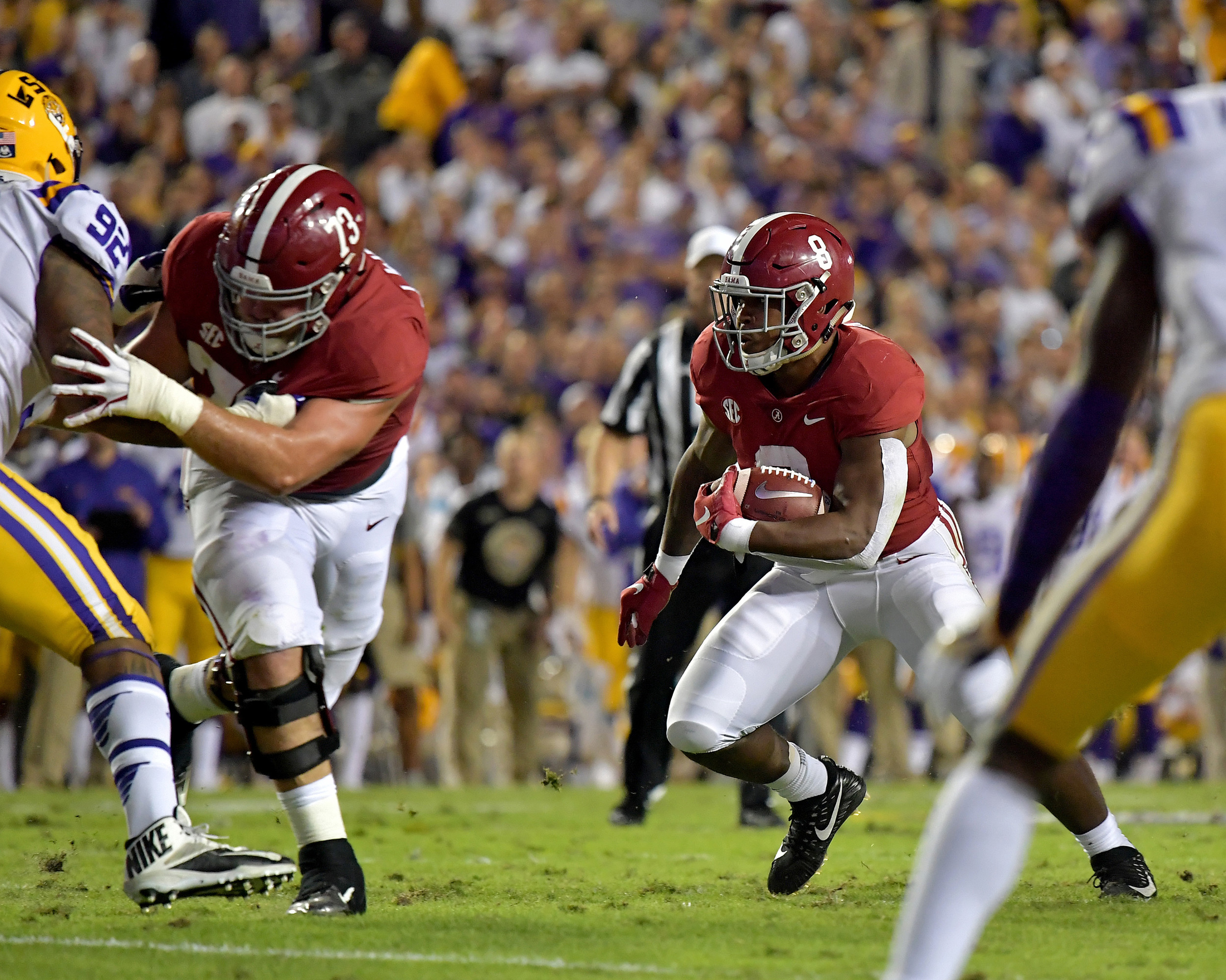 Alabama Crimson Tide running back Josh Jacobs (8) with a carry up the middle during the first half of an NCAA football game against the LSU Tigers Saturday, November 3, 2018, at Tiger Stadium in Baton Rouge, La. Alabama wins 29-0. (Photo by Lee Walls)