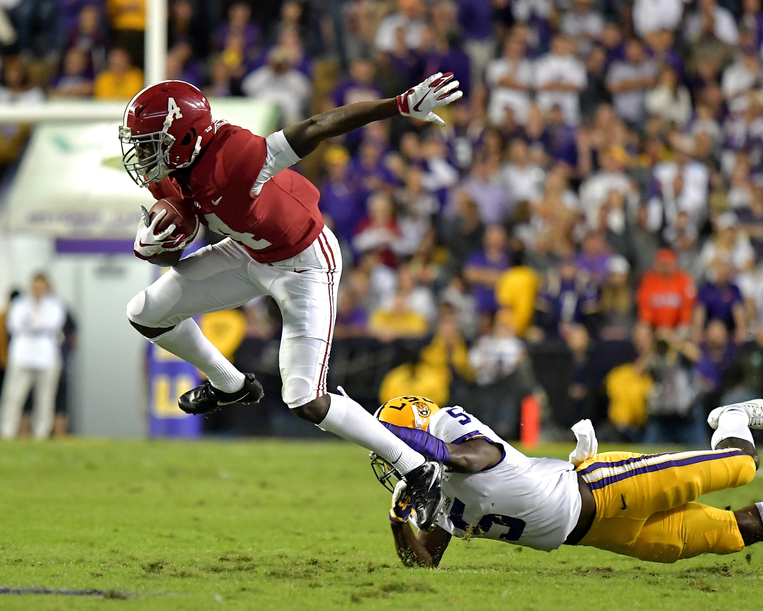 Alabama Crimson Tide wide receiver Jerry Jeudy (4) turns up the field after making a catch in the first half of an NCAA football game against the LSU Tigers Saturday, November 3, 2018, at Tiger Stadium in Baton Rouge, La. Alabama wins 29-0. (Photo by Lee Walls)