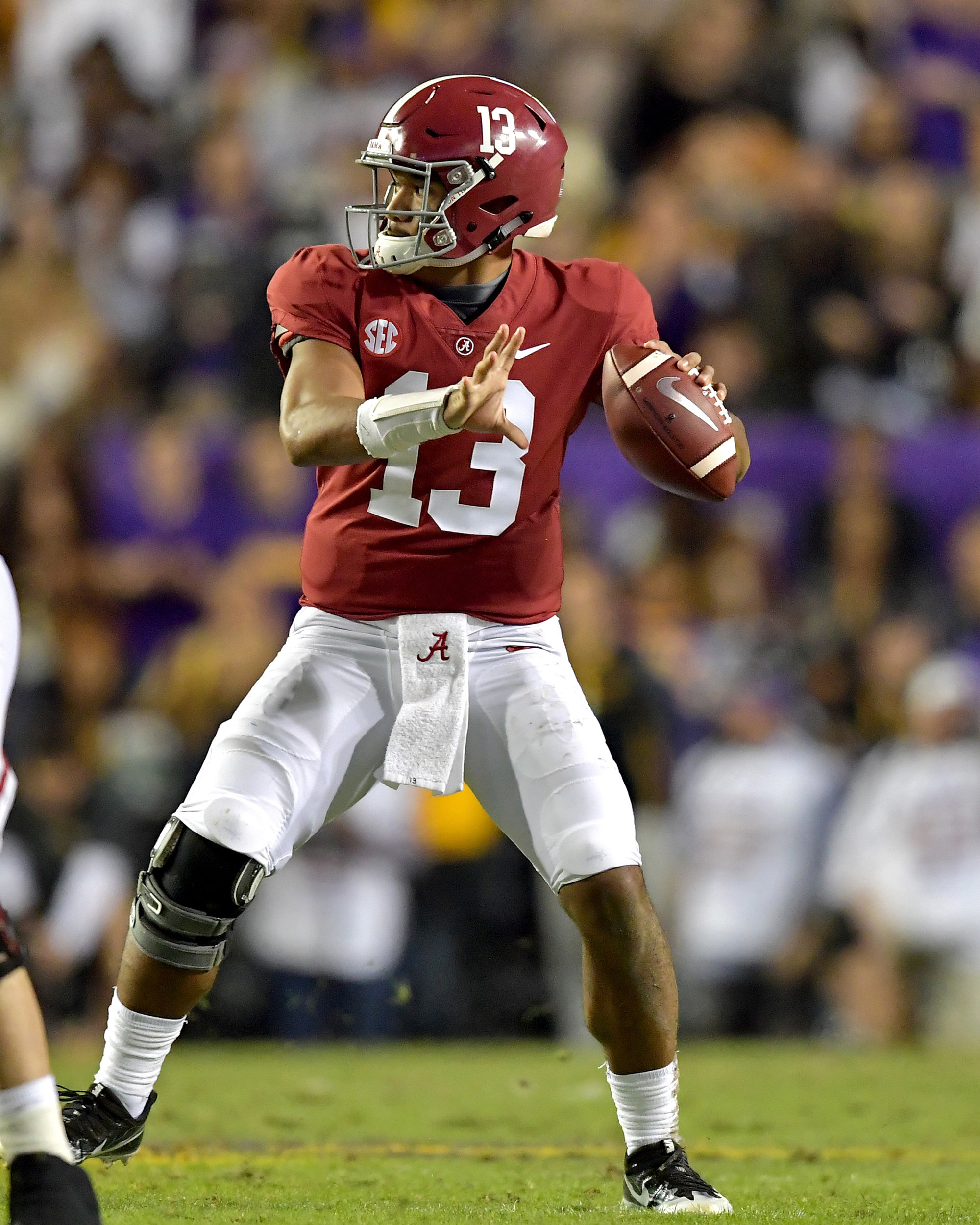 Alabama Crimson Tide quarterback Tua Tagovailoa (13) drops back to pass in the first half of an NCAA football game against the LSU Tigers Saturday, November 3, 2018, at Tiger Stadium in Baton Rouge, La.  Alabama wins 29-0. (Photo by Lee Walls)
