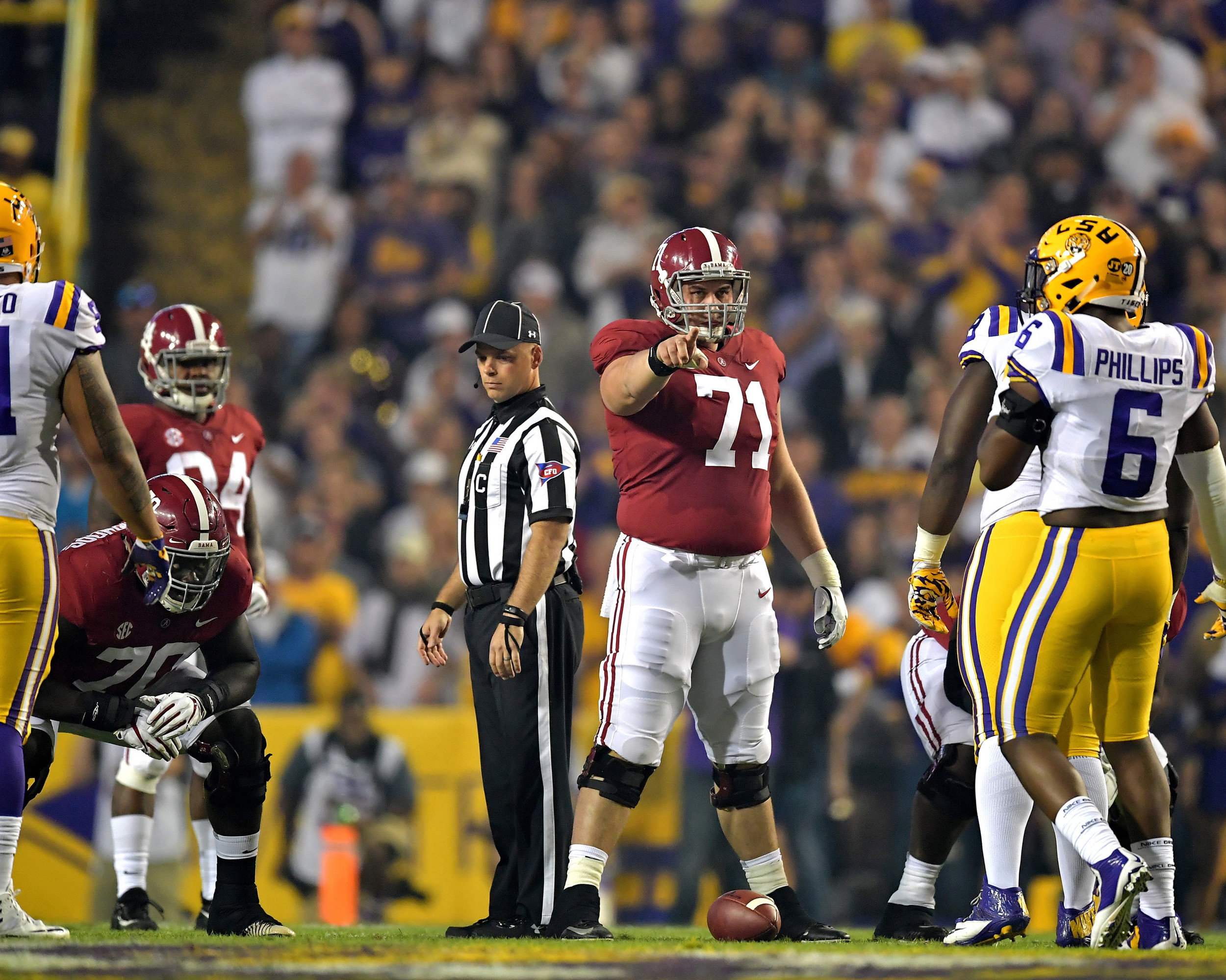 Alabama Crimson Tide offensive lineman Ross Pierschbacher (71) points out defensive players in the first half of an NCAA football game against the LSU Tigers Saturday, November 3, 2018, at Tiger Stadium in Baton Rouge, La. Alabama wins 29-0. (Photo by Lee Walls)