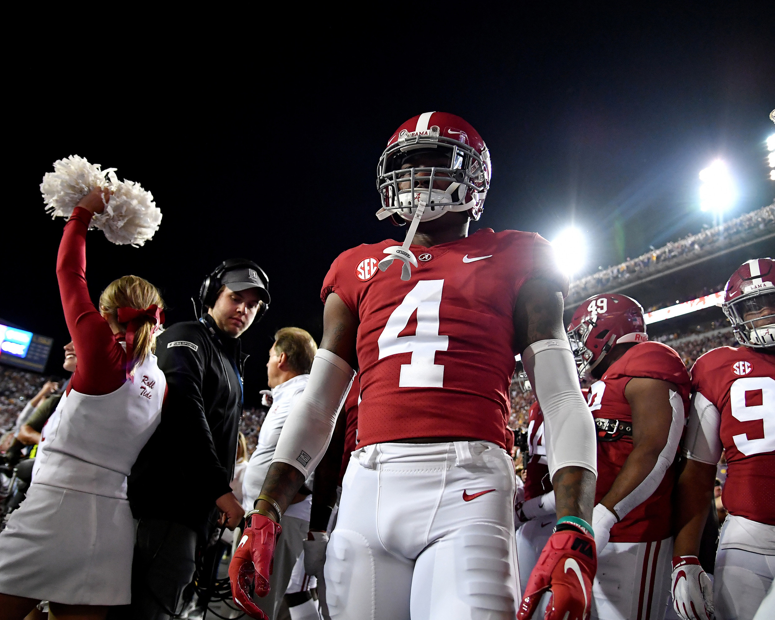 Alabama Crimson Tide wide receiver Jerry Jeudy (4) prepares to take the field prior to an NCAA football game between Alabama and the LSU Tigers Saturday, November 3, 2018, at Tiger Stadium in Baton Rouge, La. Alabama wins 29-0. (Photo by Lee Walls)