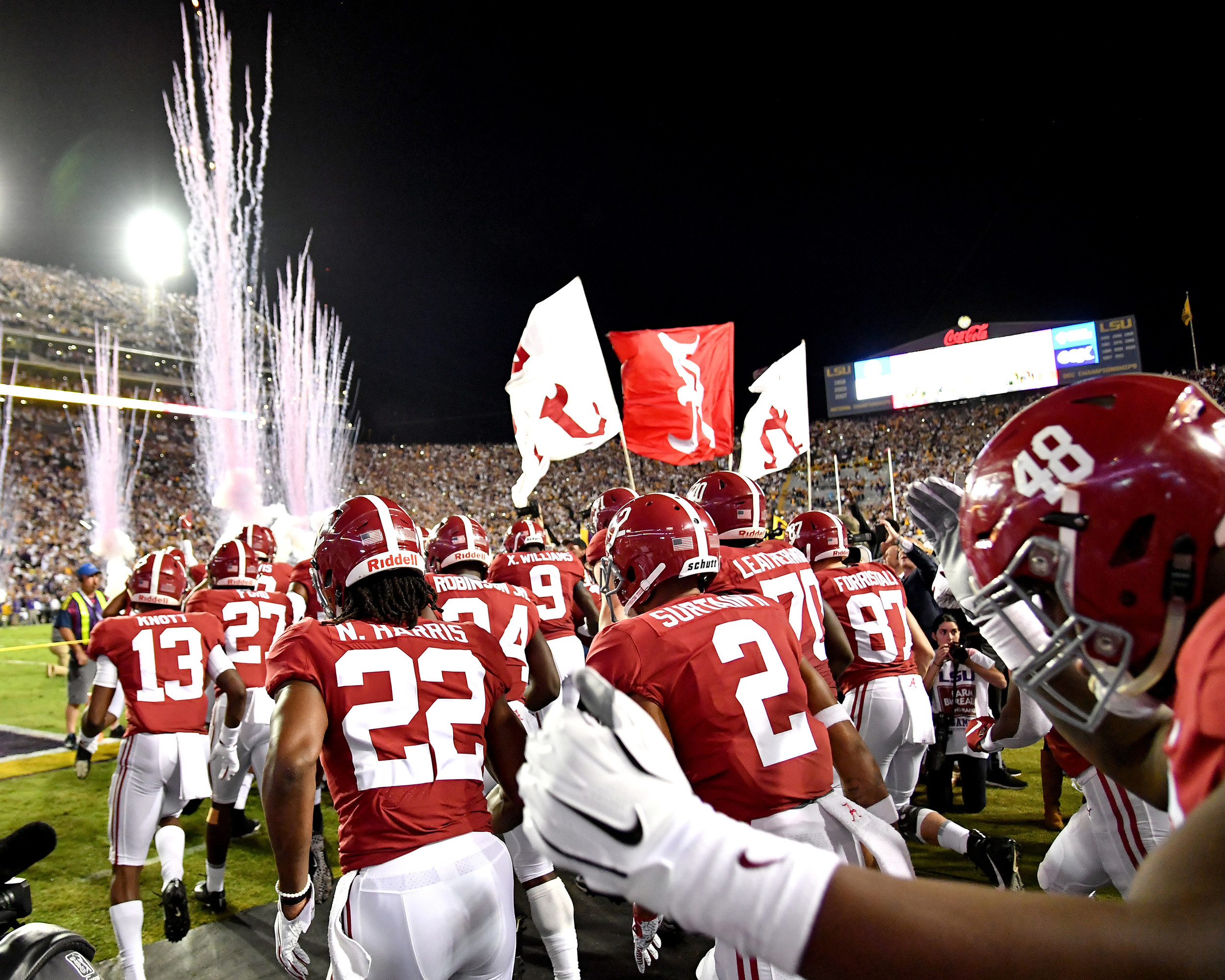 Players take the field prior to the first half of an NCAA football game between the Alabama Crimson Tide and the LSU Tigers Saturday, November 3, 2018, at Tiger Stadium in Baton Rouge, La. Alabama wins 29-0. (Photo by Lee Walls)