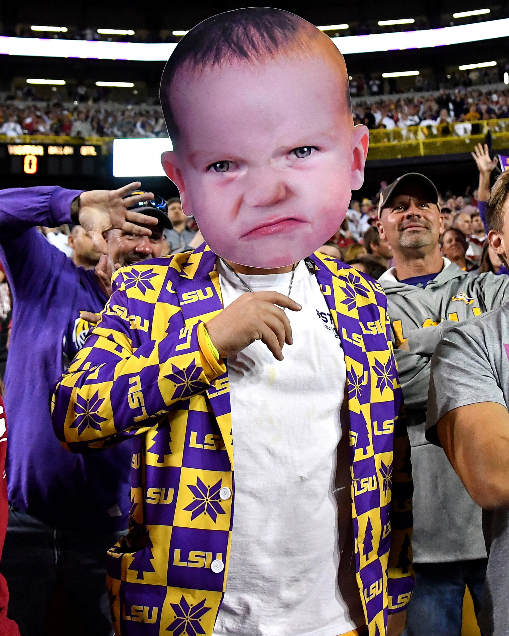 An LSU fan is pictured during the first half of an NCAA football game between the Alabama Crimson Tide and the LSU Tigers Saturday, November 3, 2018, at Tiger Stadium in Baton Rouge, La. Alabama wins 29-0. (Photo by Lee Walls)