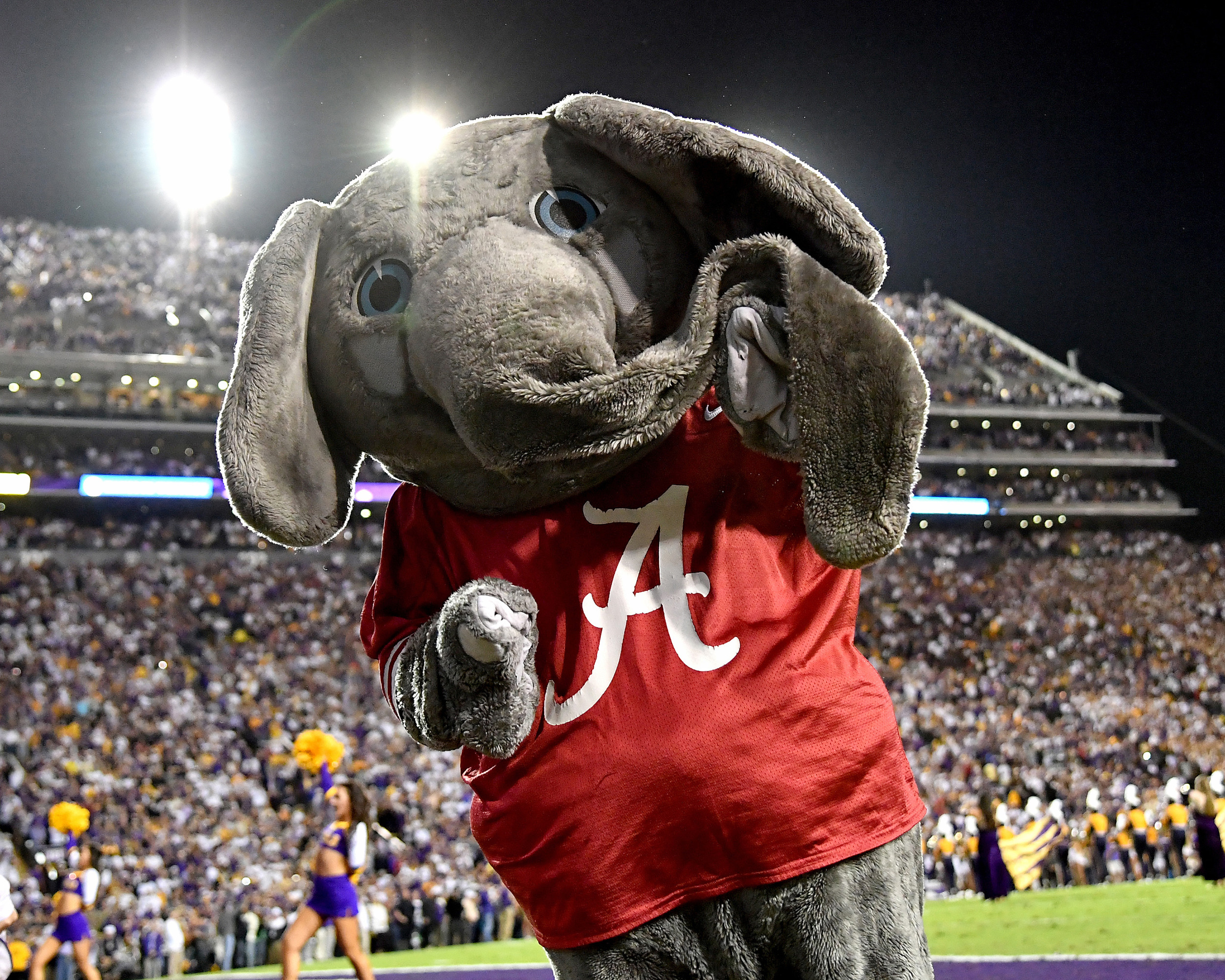Big Al is seen during the first half of an NCAA football game between the Alabama Crimson Tide and the LSU Tigers Saturday, November 3, 2018, at Tiger Stadium in Baton Rouge, La. Alabama wins 29-0. (Photo by Lee Walls)