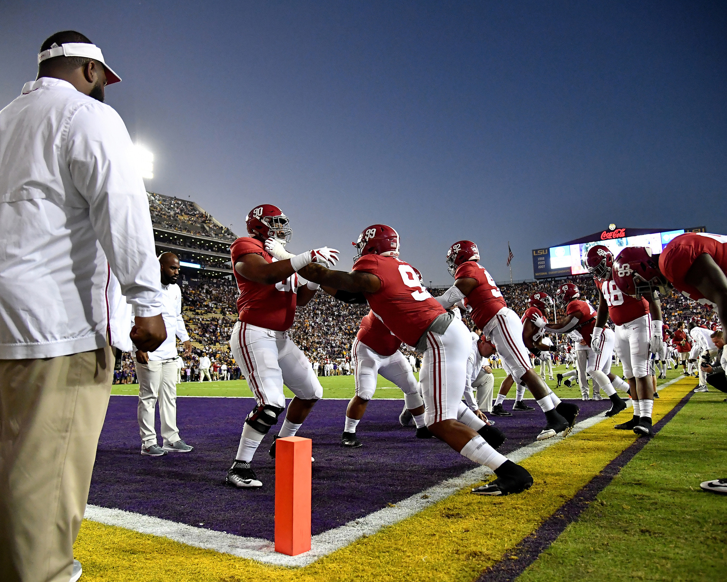 Alabama runs through warmup drills prior to an NCAA football game between the Alabama Crimson Tide and the LSU Tigers Saturday, November 3, 2018, at Tiger Stadium in Baton Rouge, La. Alabama wins 29-0. (Photo by Lee Walls)