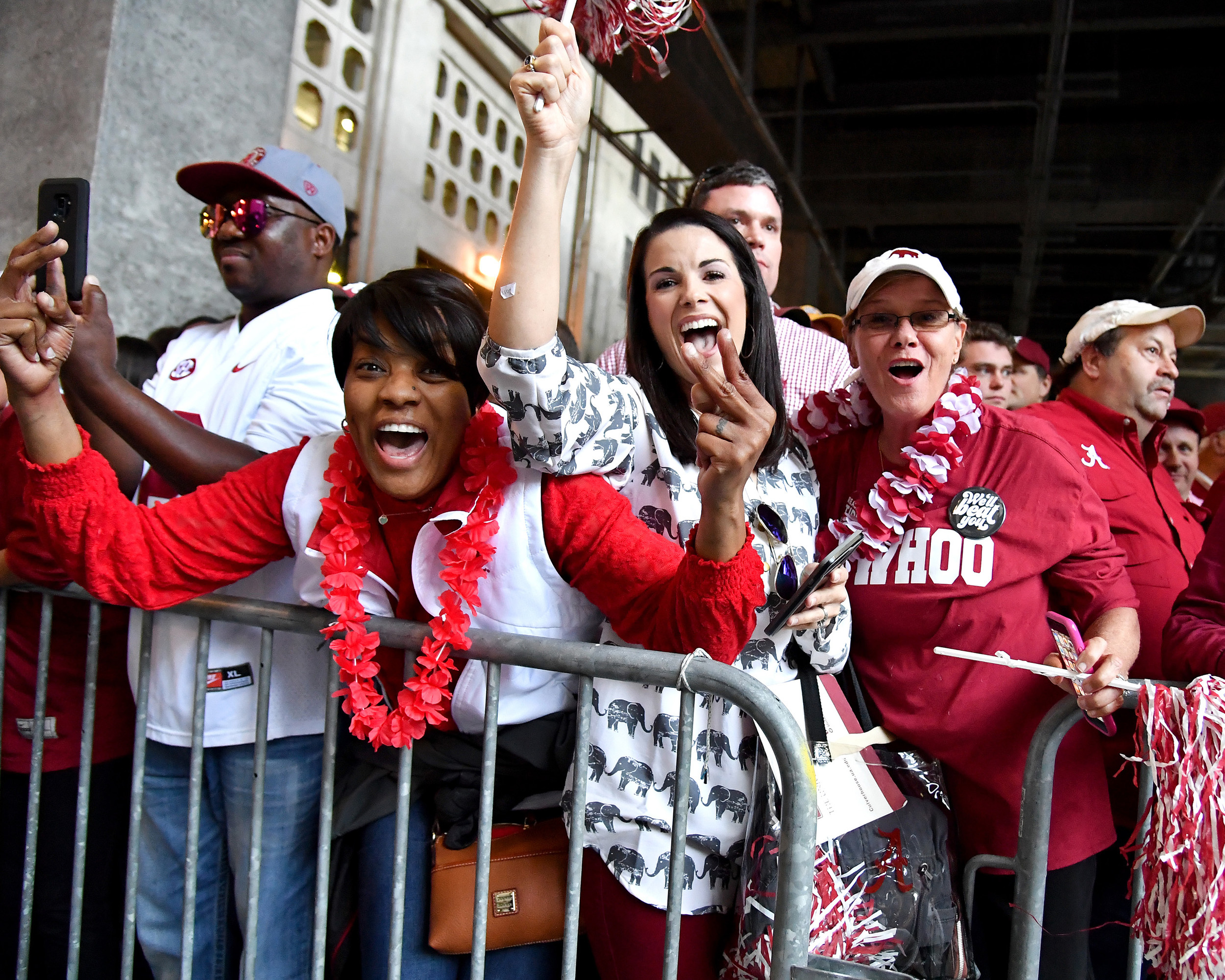 Fans react as the Alabama Crimson Tide football team walk into Tiger Stadium prior to an NCAA football game against the LSU Tigers Saturday, November 3, 2018, in Baton Rouge, La. (Photo by Lee Walls)