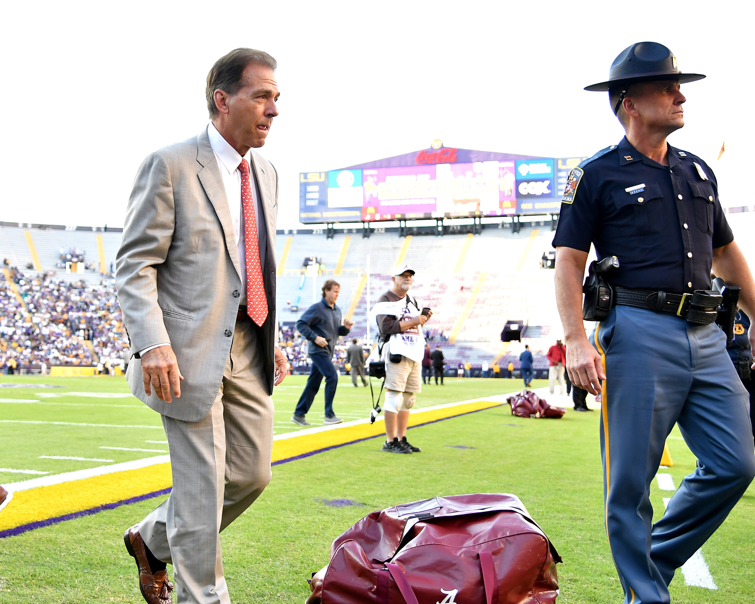 Alabama Crimson Tide head coach Nick Saban walks the field prior to an NCAA football game against the LSU Tigers Saturday, November 3, 2018, in Baton Rouge, La. (Photo by Lee Walls)