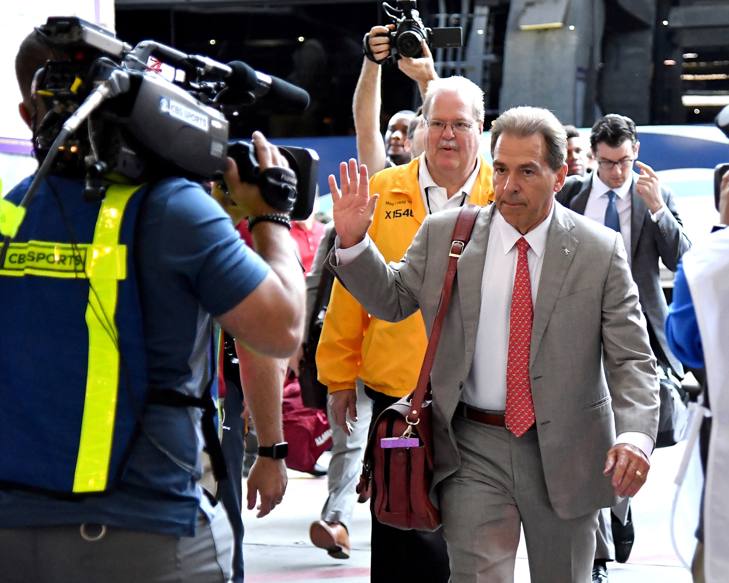 Alabama Crimson Tide head coach Nick Saban waves to the crowd as he walks into Tiger Stadium prior to an NCAA football game against the LSU Tigers Saturday, November 3, 2018, in Baton Rouge, La. (Photo by Lee Walls)