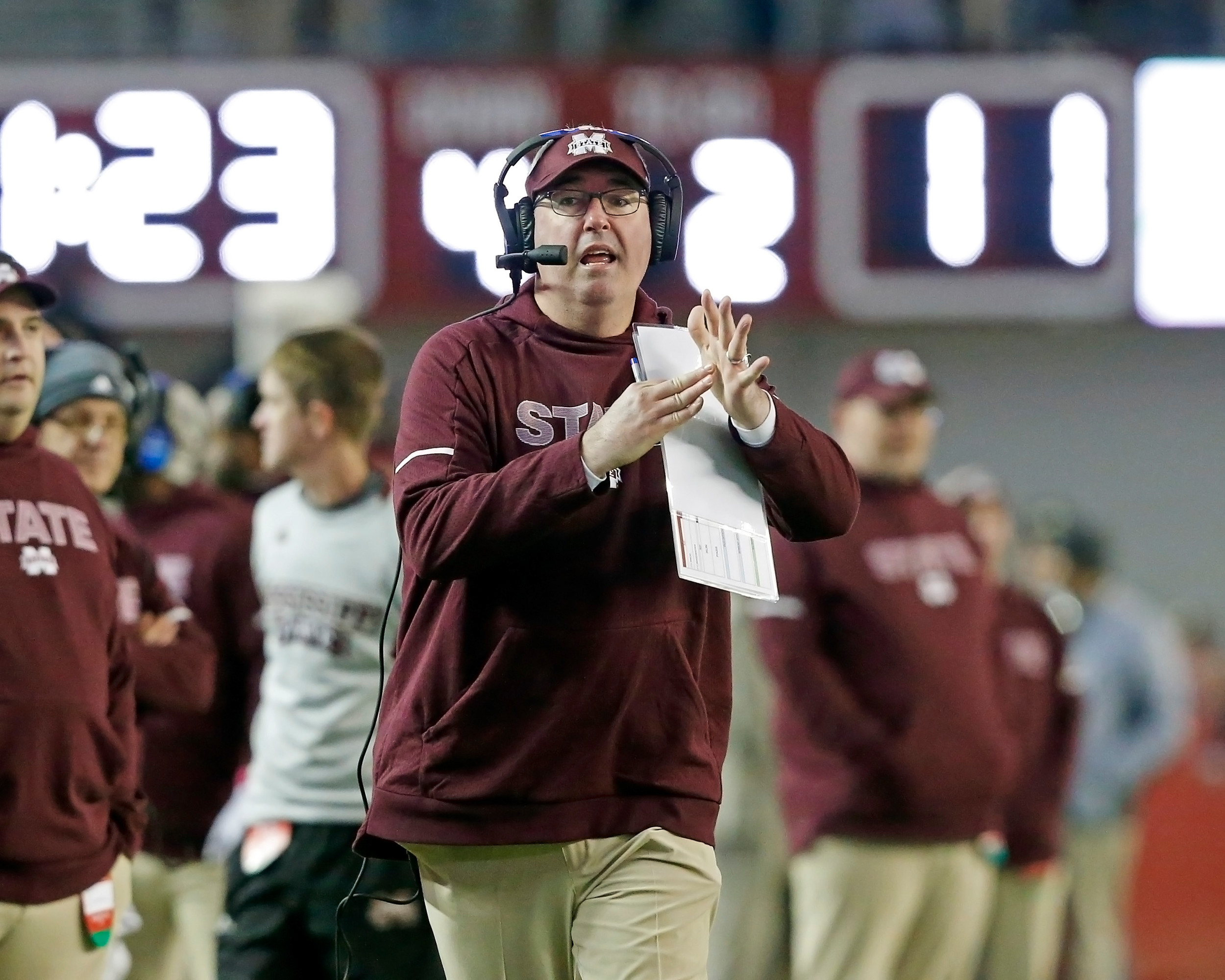 Mississippi State Bulldogs head coach Joe Moorhead calls a time out during the second half of the game between Mississippi State and the University of Alabama at Bryant-Denny Stadium in Tuscaloosa, Al. Credit: Jason Clark / Daily Mountain Eagle