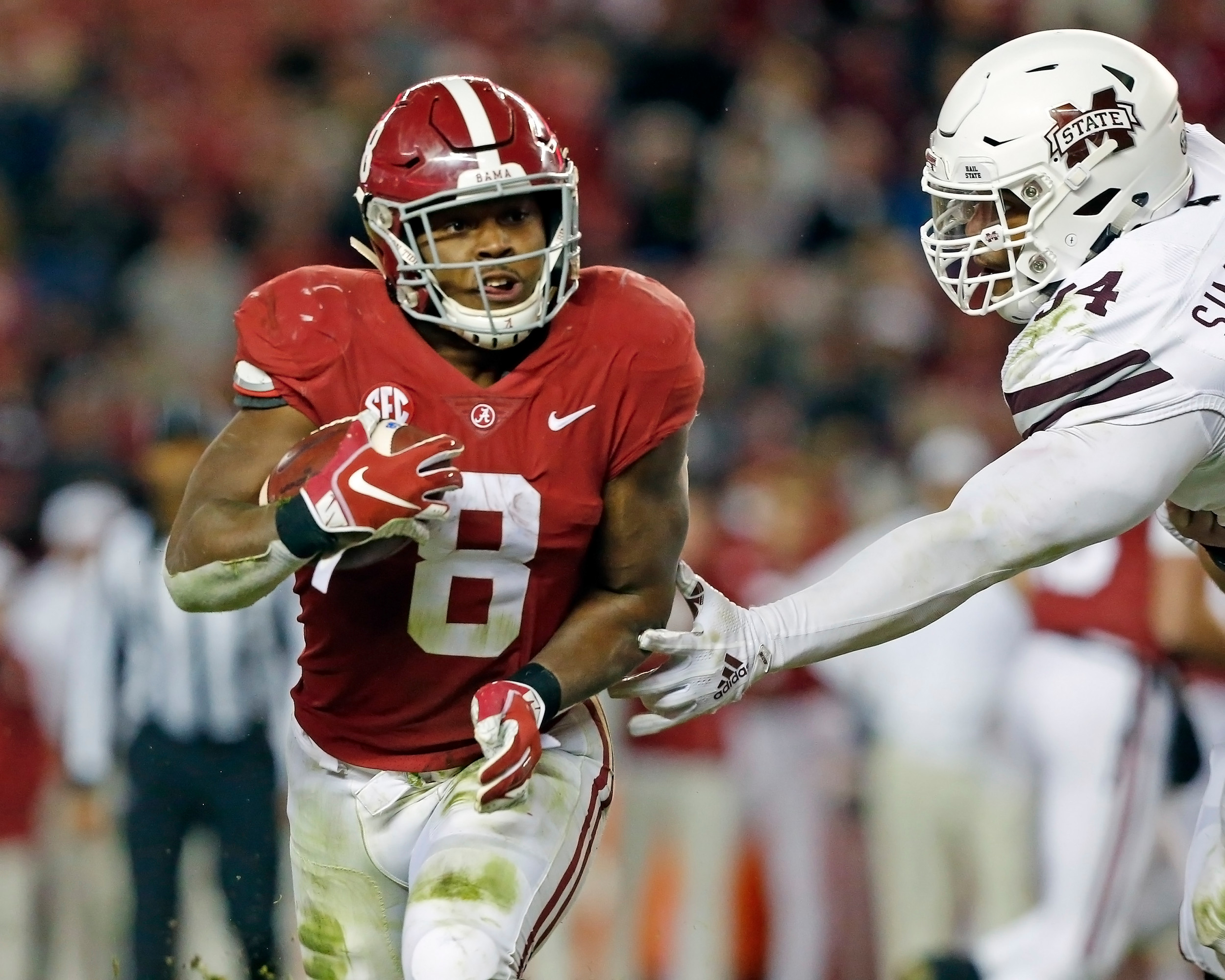 Alabama Crimson Tide running back Josh Jacobs (8) rushes during the second half of the game between Mississippi State and the University of Alabama at Bryant-Denny Stadium in Tuscaloosa, Al. Credit: Jason Clark / Daily Mountain Eagle