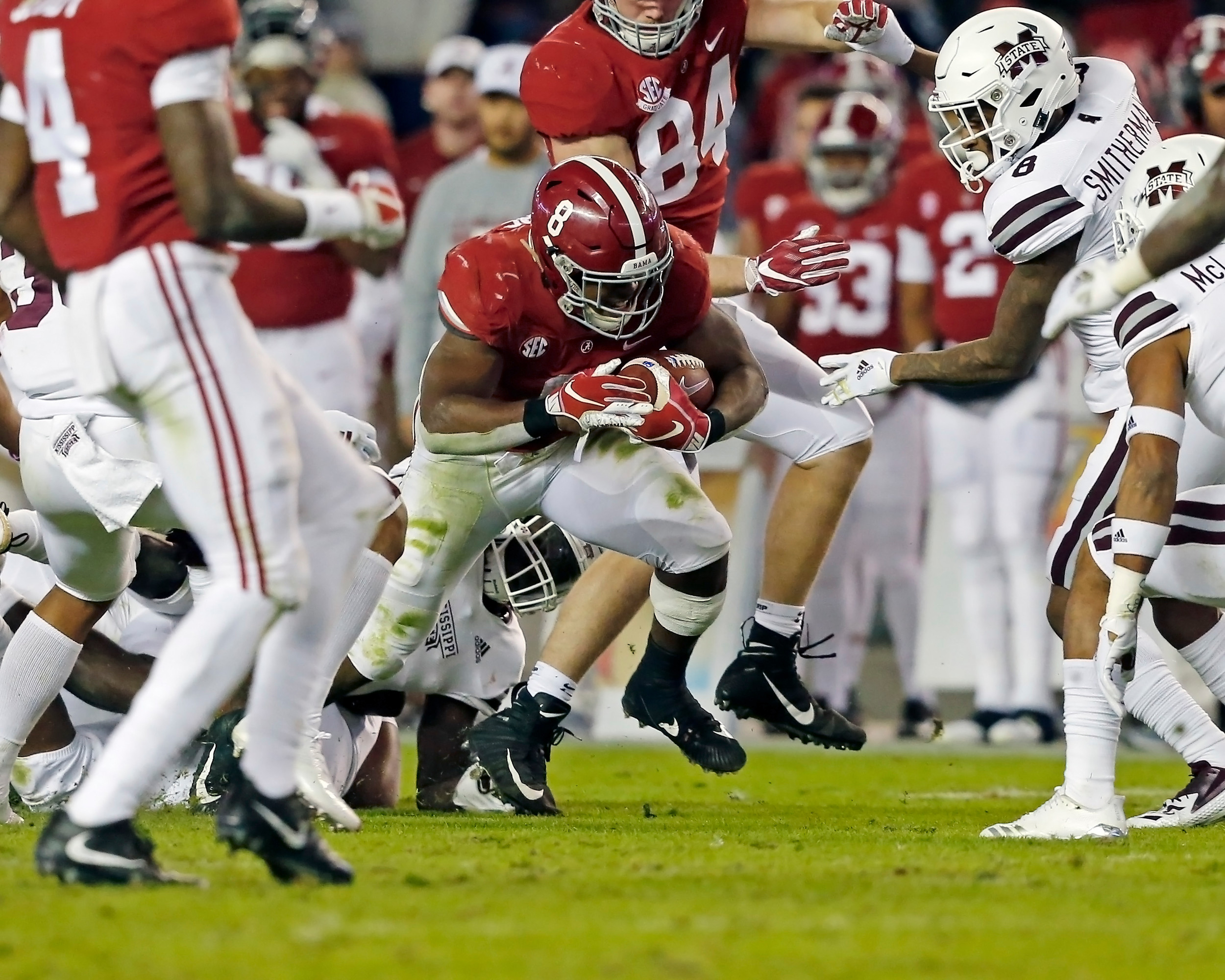 Alabama Crimson Tide running back Josh Jacobs (8) works hard for yardage during the second half of the game between Mississippi State and the University of Alabama at Bryant-Denny Stadium in Tuscaloosa, Al. Credit: Jason Clark / Daily Mountain Eagle