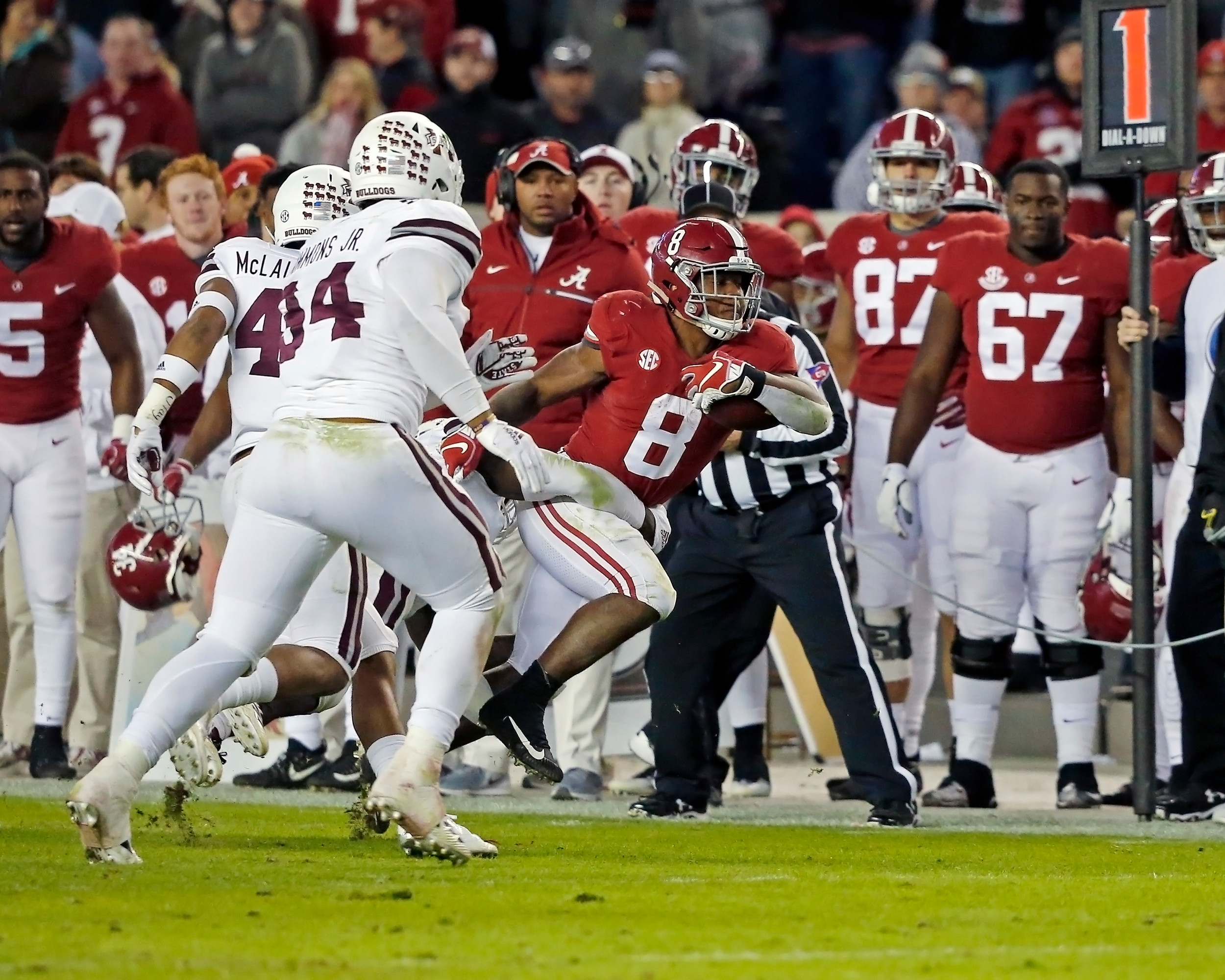 Alabama Crimson Tide running back Josh Jacobs (8) during the second half of the game between Mississippi State and the University of Alabama at Bryant-Denny Stadium in Tuscaloosa, Al. Credit: Jason Clark / Daily Mountain Eagle