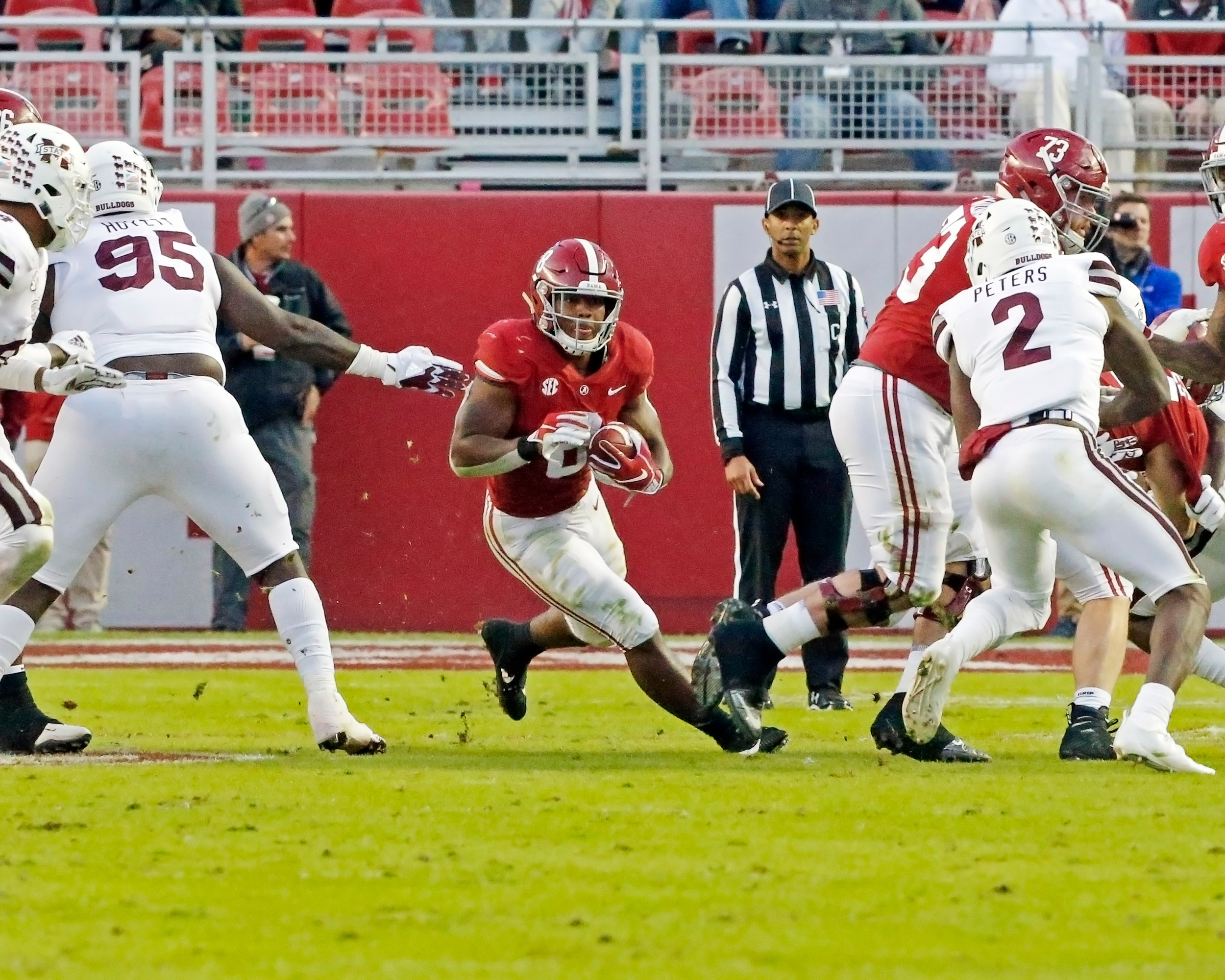 Alabama Crimson Tide running back Josh Jacobs (8) looks for room to run during the second half of the game between Mississippi State and the University of Alabama at Bryant-Denny Stadium in Tuscaloosa, Al. Credit: Jason Clark / Daily Mountain Eagle