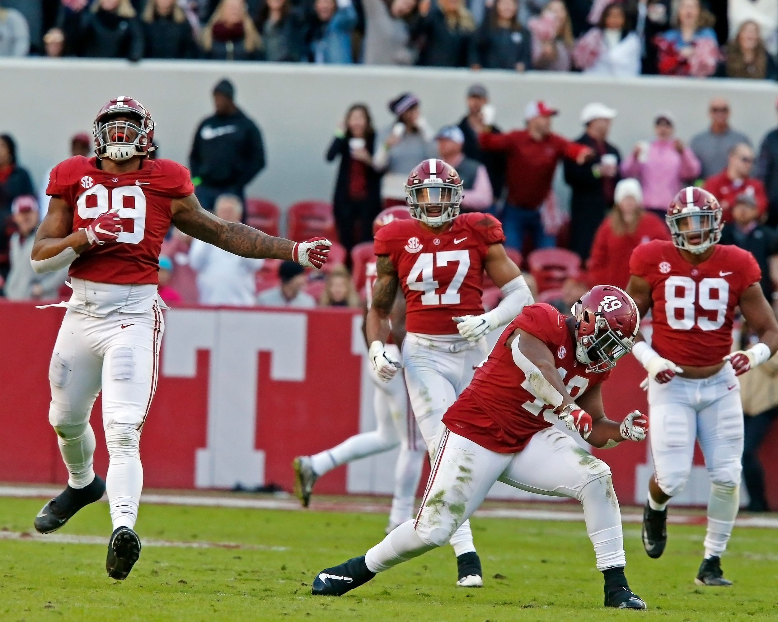 Alabama Crimson Tide's defense had plenty of plays for celebration during the game between Mississippi State and the University of Alabama at Bryant-Denny Stadium in Tuscaloosa, Al. Credit: Jason Clark / Daily Mountain Eagle