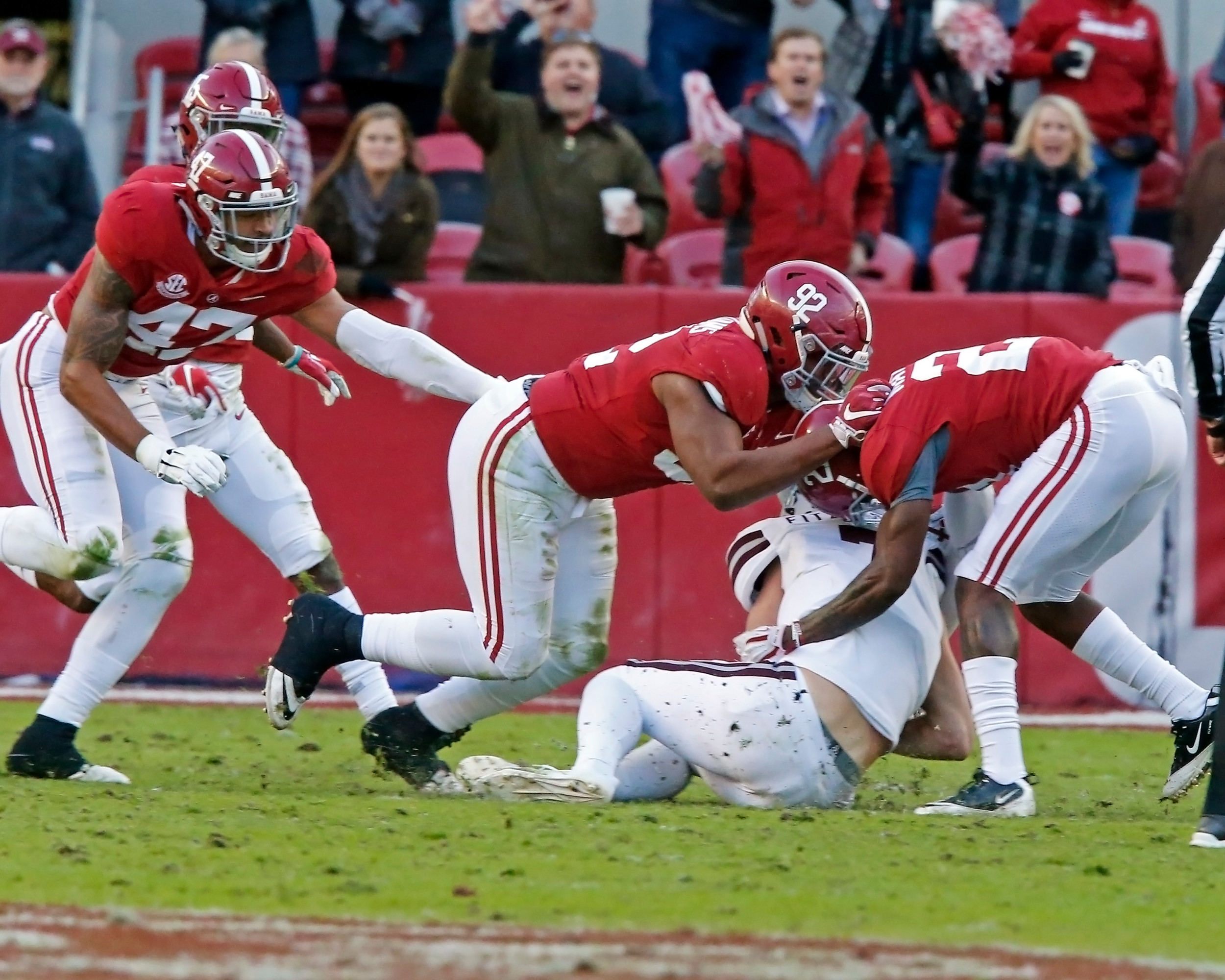 Alabama Crimson Tide defensive lineman Quinnen Williams (92) helps finish off a tackle on Mississippi State Bulldogs quarterback Nick Fitzgerald (7) during the game between Mississippi State and the University of Alabama at Bryant-Denny Stadium in Tuscaloosa, Al. Credit: Jason Clark / Daily Mountain Eagle