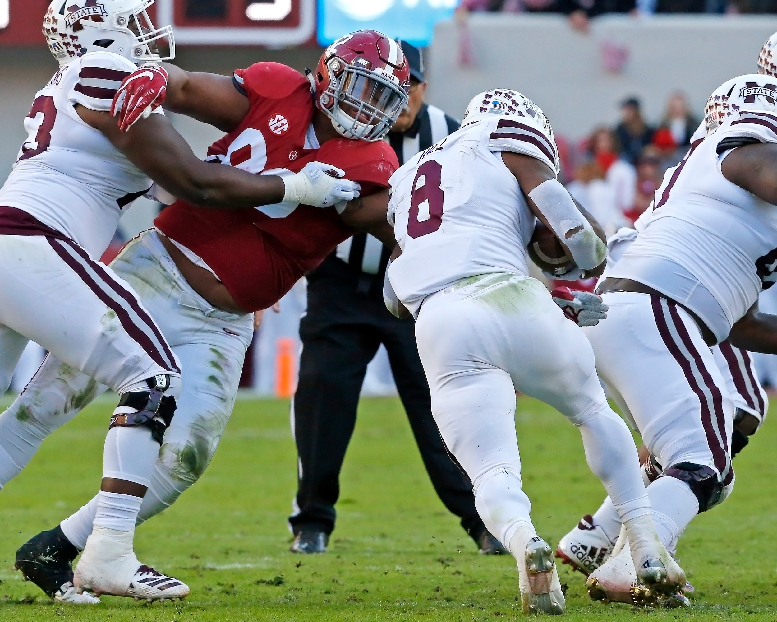 Evene though Mississippi State held Alabama Crimson Tide defensive lineman Quinnen Williams (92), he still made big plays during the game between Mississippi State and the University of Alabama at Bryant-Denny Stadium in Tuscaloosa, Al. Credit: Jason Clark / Daily Mountain Eagle