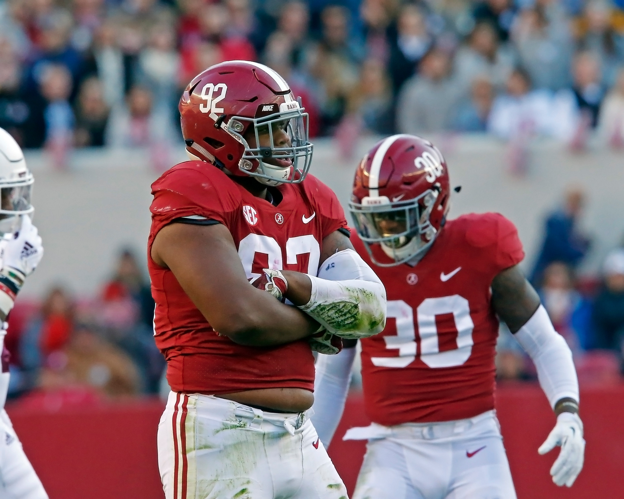 Alabama Crimson Tide defensive lineman Quinnen Williams (92) poses after a big tackle for loss during the game between Mississippi State and the University of Alabama at Bryant-Denny Stadium in Tuscaloosa, Al. Credit: Jason Clark / Daily Mountain Eagle
