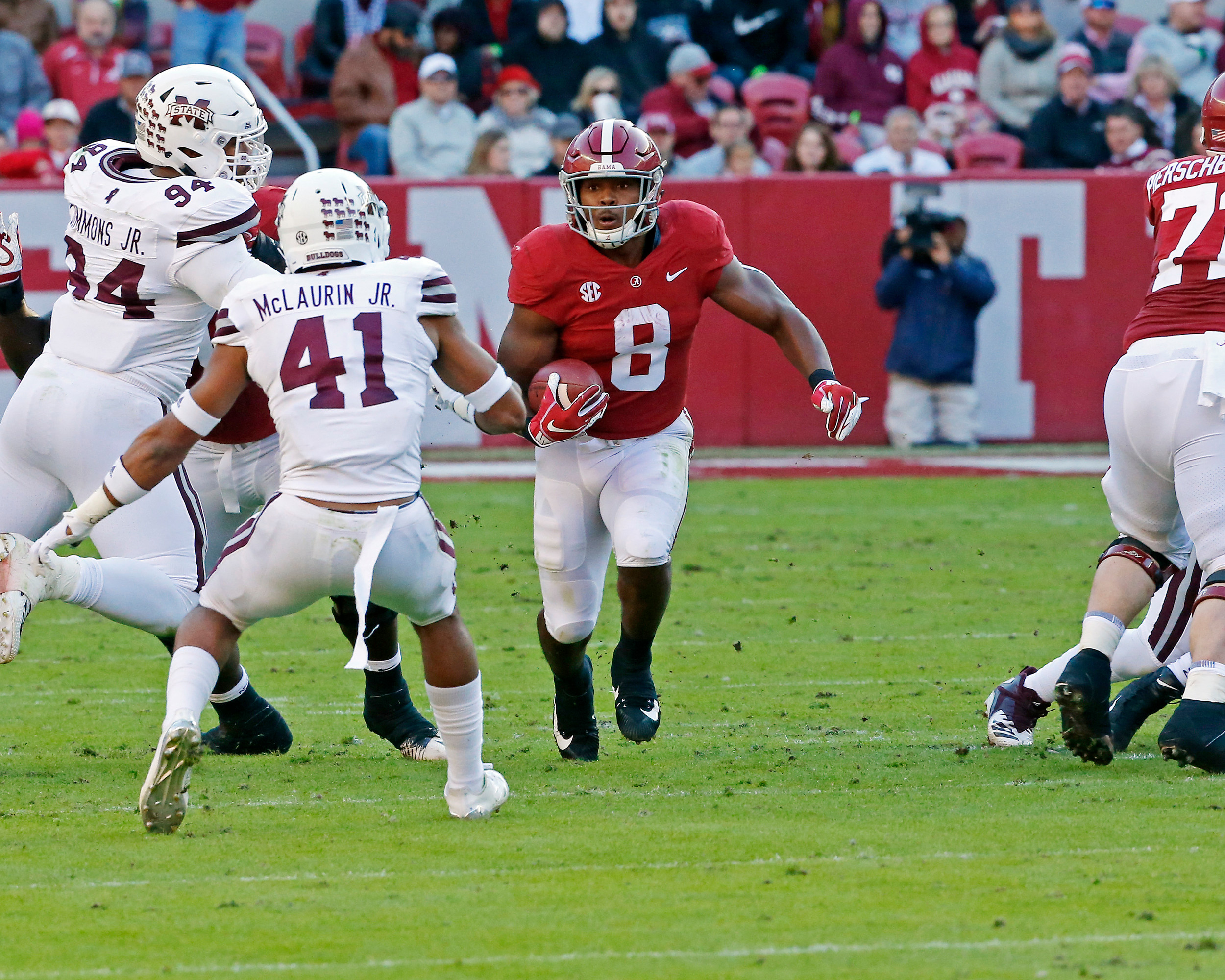 Alabama Crimson Tide running back Josh Jacobs (8) heads straight for Mississippi State Bulldogs safety Mark McLaurin (41) during the game between Mississippi State and the University of Alabama at Bryant-Denny Stadium in Tuscaloosa, Al. Credit: Jason Clark / Daily Mountain Eagle