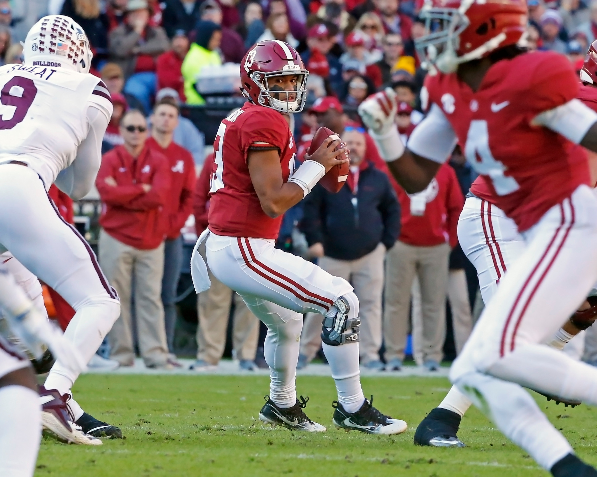 Alabama Crimson Tide quarterback Tua Tagovailoa (13) looks for a receiver during the game between Mississippi State and the University of Alabama at Bryant-Denny Stadium in Tuscaloosa, Al. Credit: Jason Clark / Daily Mountain Eagle