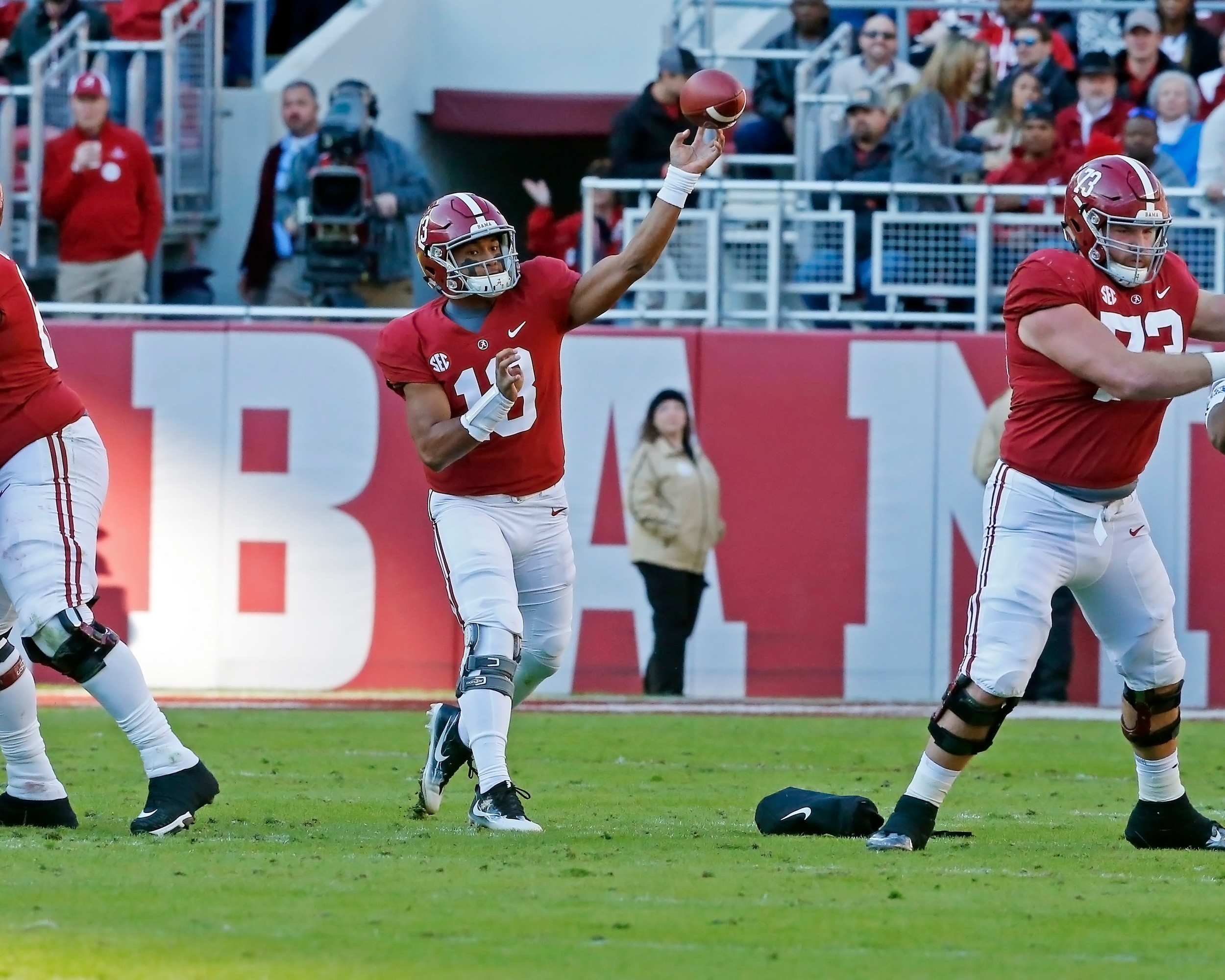 Alabama Crimson Tide quarterback Tua Tagovailoa (13) makes a throw during the game between Mississippi State and the University of Alabama at Bryant-Denny Stadium in Tuscaloosa, Al. Credit: Jason Clark / Daily Mountain Eagle