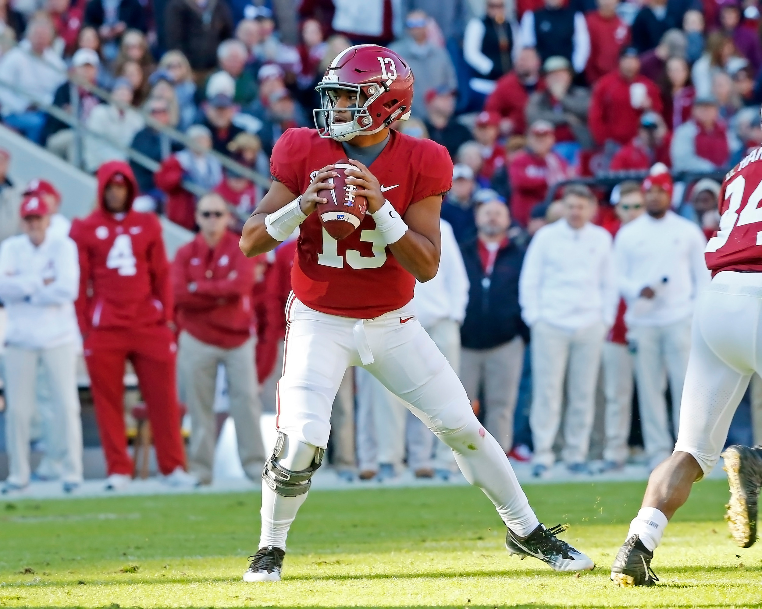Alabama Crimson Tide quarterback Tua Tagovailoa (13) looks to pass during the game between Mississippi State and the University of Alabama at Bryant-Denny Stadium in Tuscaloosa, Al. Credit: Jason Clark / Daily Mountain Eagle