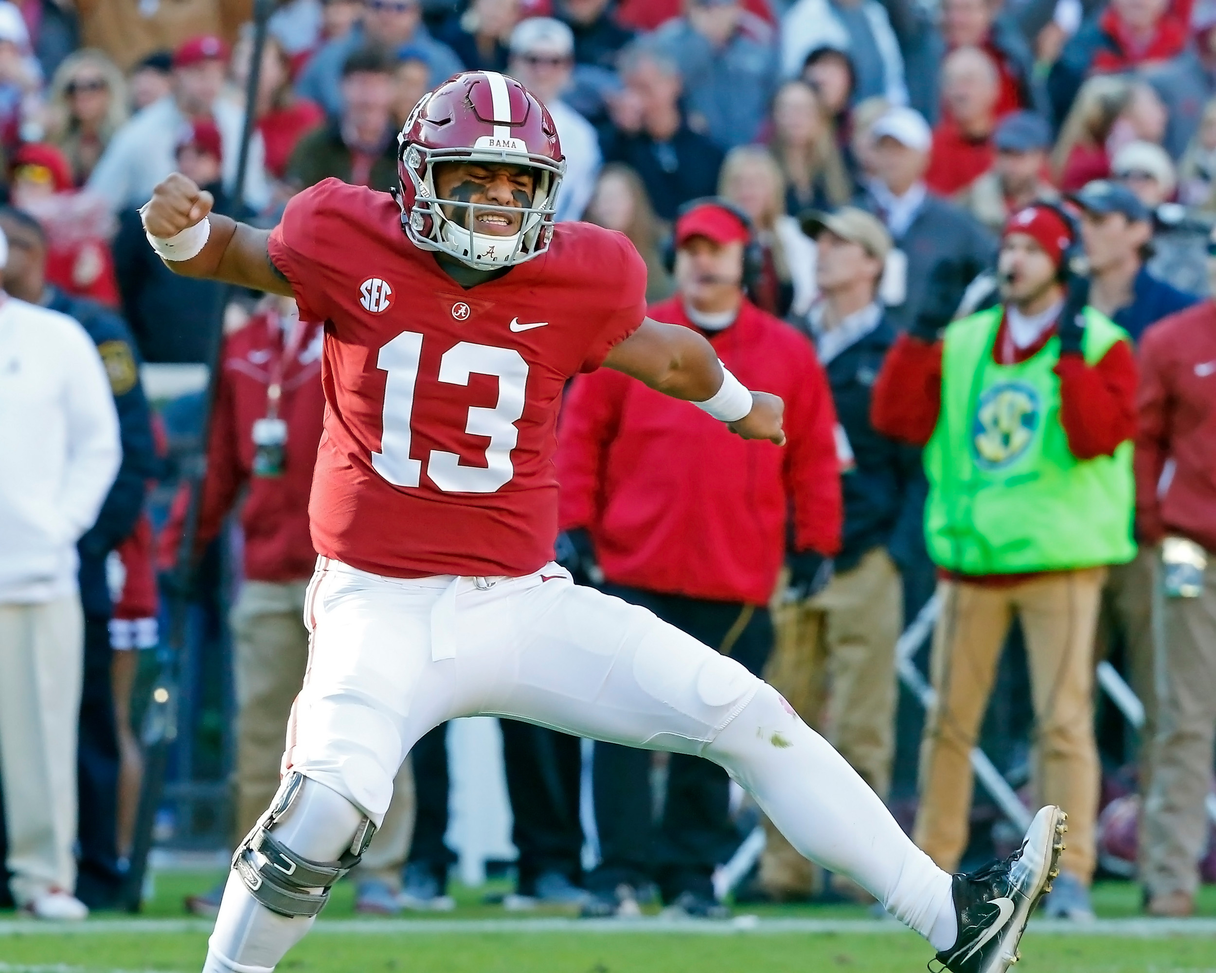 Alabama Crimson Tide quarterback Tua Tagovailoa (13) celebrates after a touchdown during the game between Mississippi State and the University of Alabama at Bryant-Denny Stadium in Tuscaloosa, Al. Credit: Jason Clark / Daily Mountain Eagle
