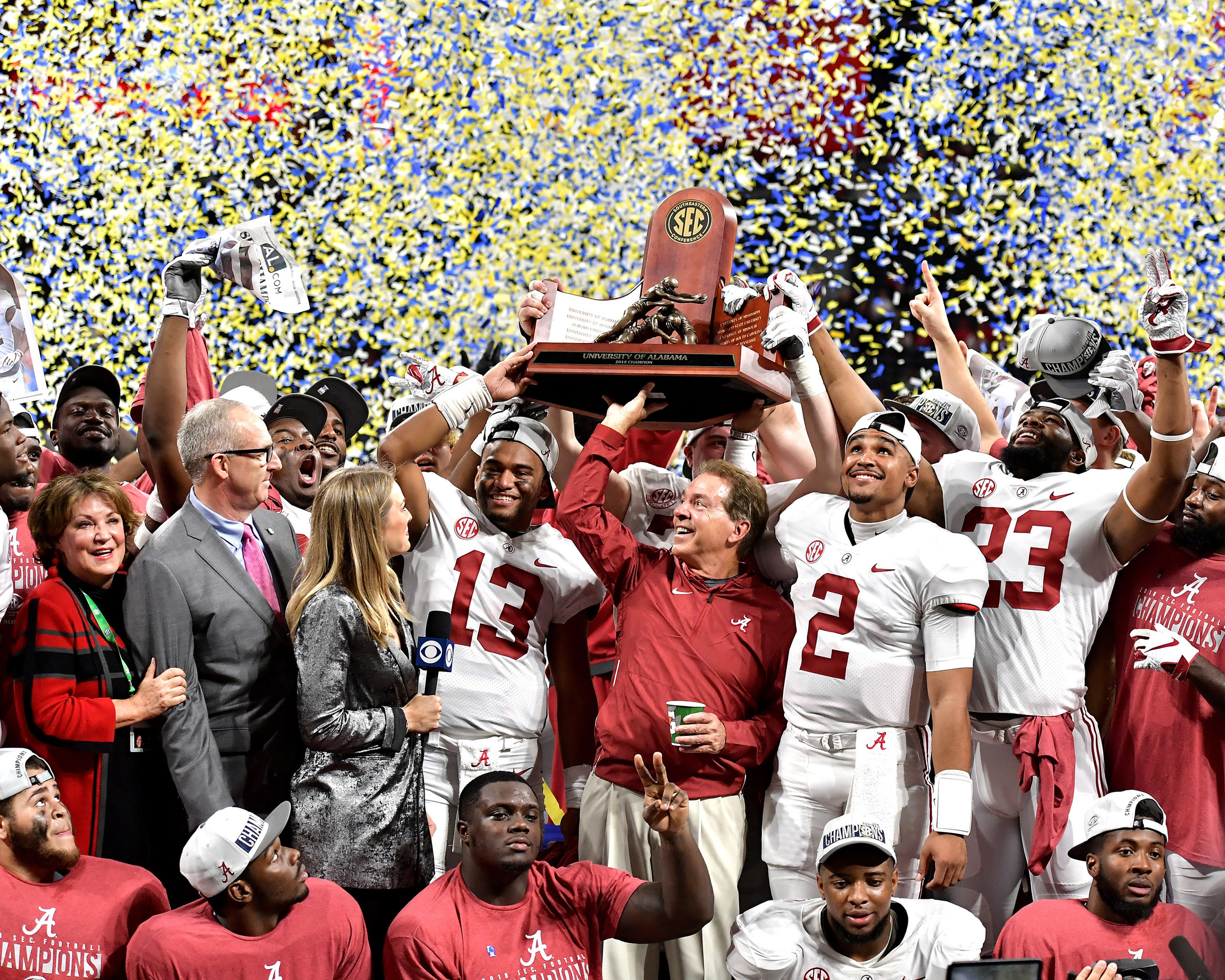 Alabama teammates and head coach Nick Saban celebrate another SEC Championship on Dec. 1, 2018, at Mercedes-Benz Stadium in Atlanta, Ga., on Dec. 1, 2018. Alabama wins 35-28. (Photo by Lee Walls)